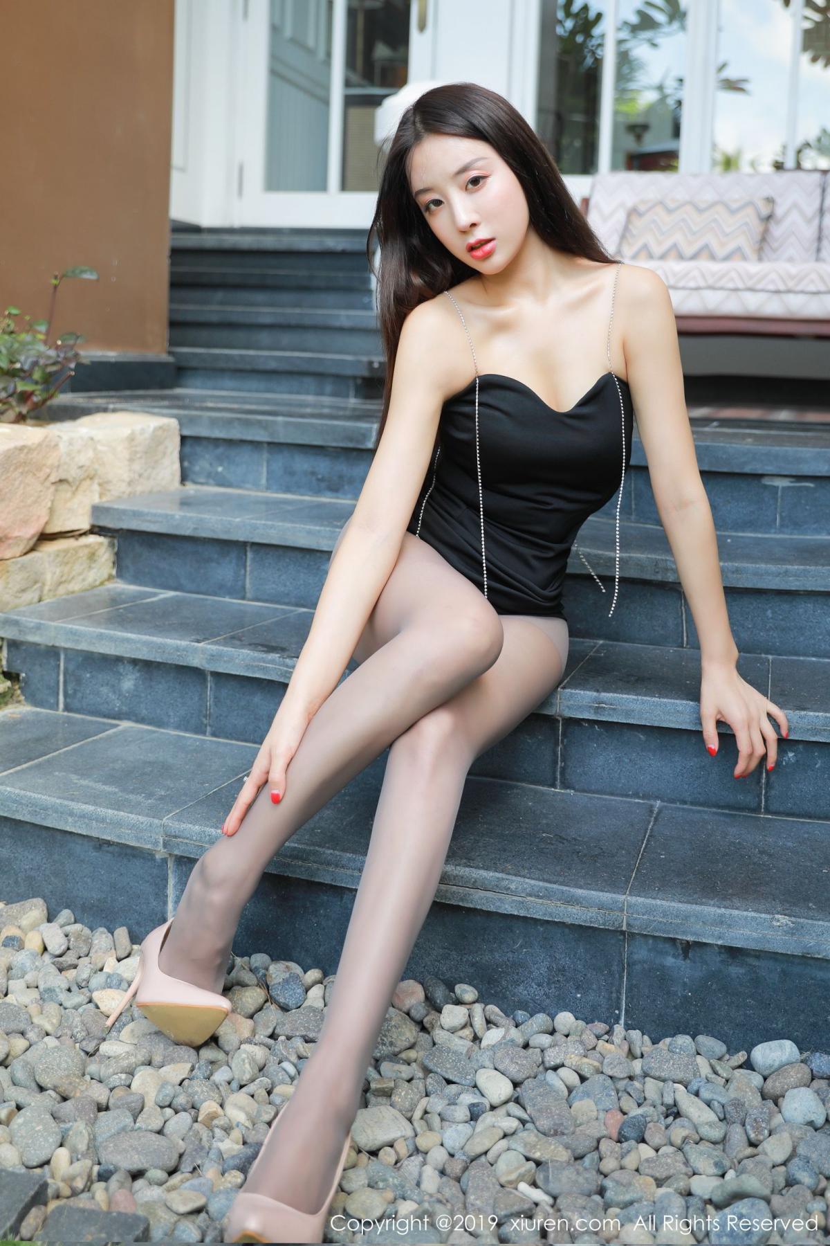 [XiuRen] Vol.1593 Duan Xiao Hui 7P, Black Silk, Duan Xiao Hui, Peach Hip, Xiuren