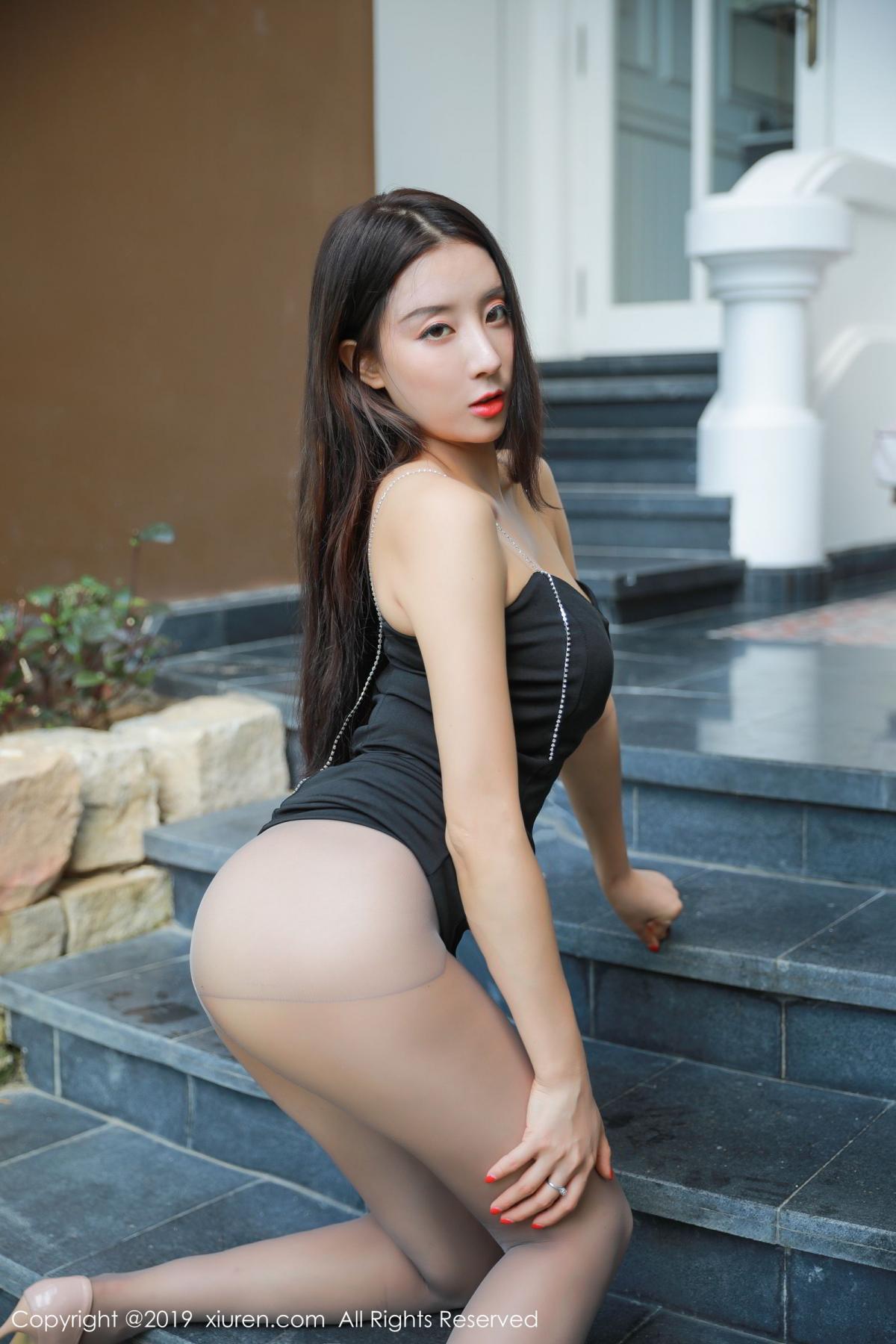 [XiuRen] Vol.1593 Duan Xiao Hui 8P, Black Silk, Duan Xiao Hui, Peach Hip, Xiuren