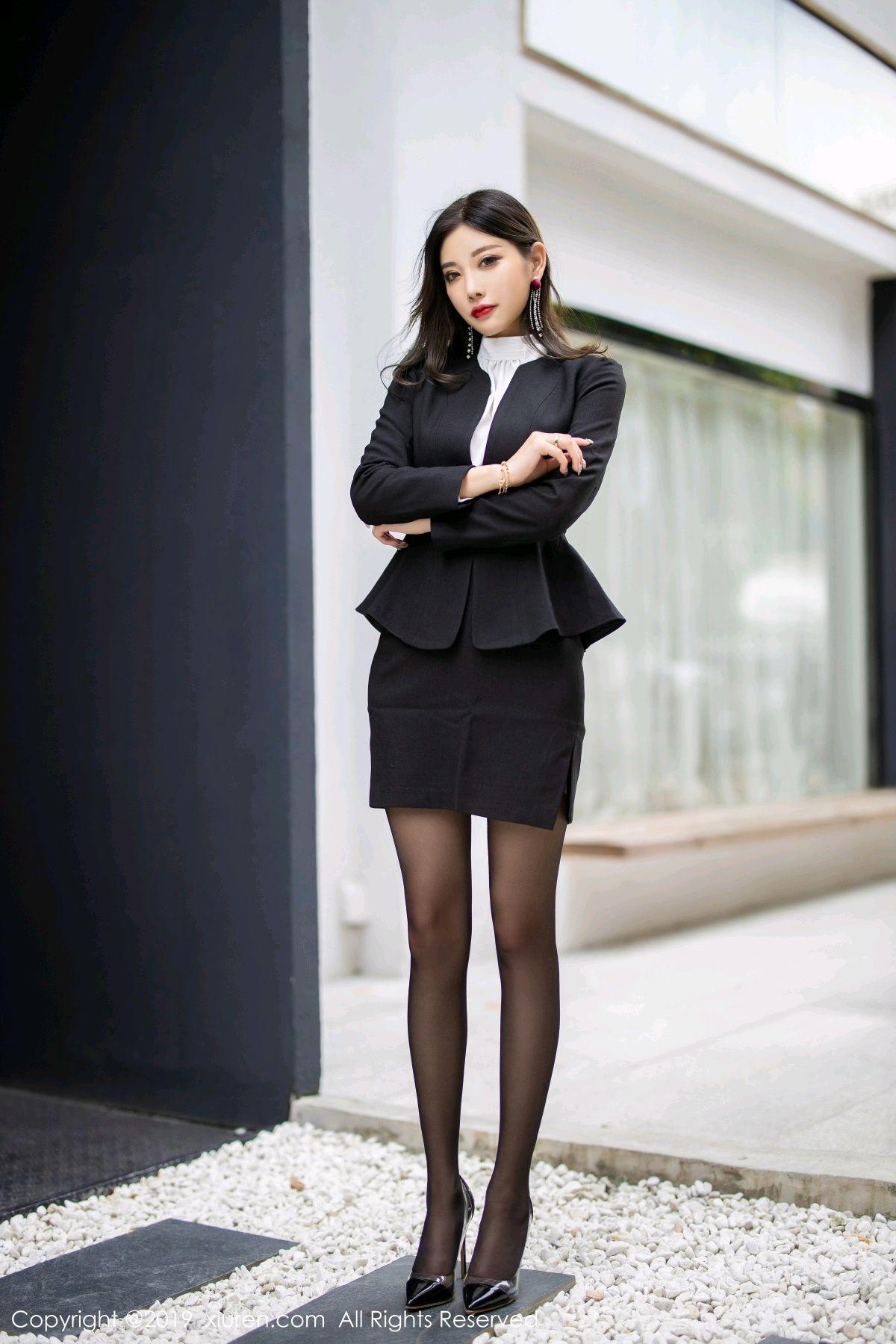 [XiuRen] Vol.1616 Yang Chen Chen 10P, Black Silk, Tall, Uniform, Xiuren, Yang Chen Chen