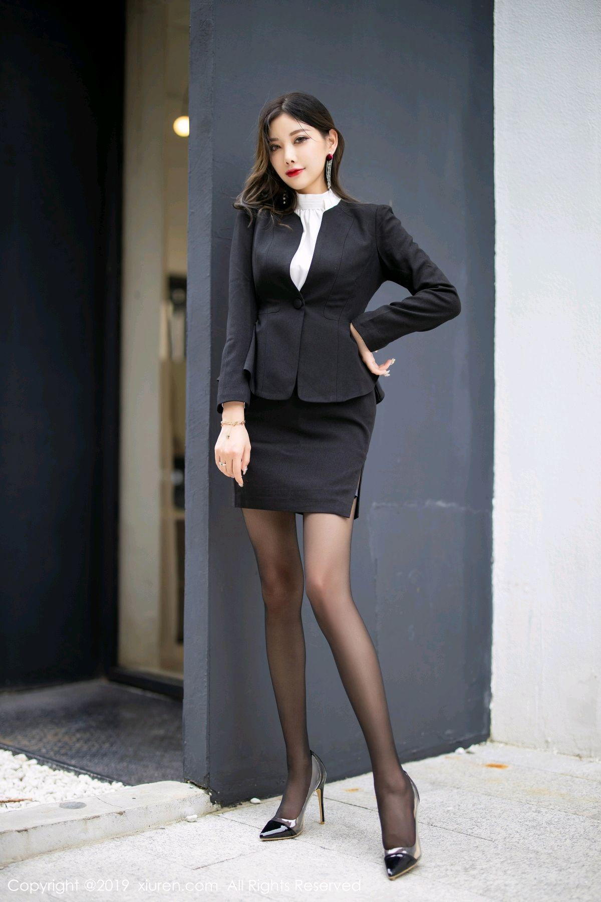[XiuRen] Vol.1616 Yang Chen Chen 17P, Black Silk, Tall, Uniform, Xiuren, Yang Chen Chen