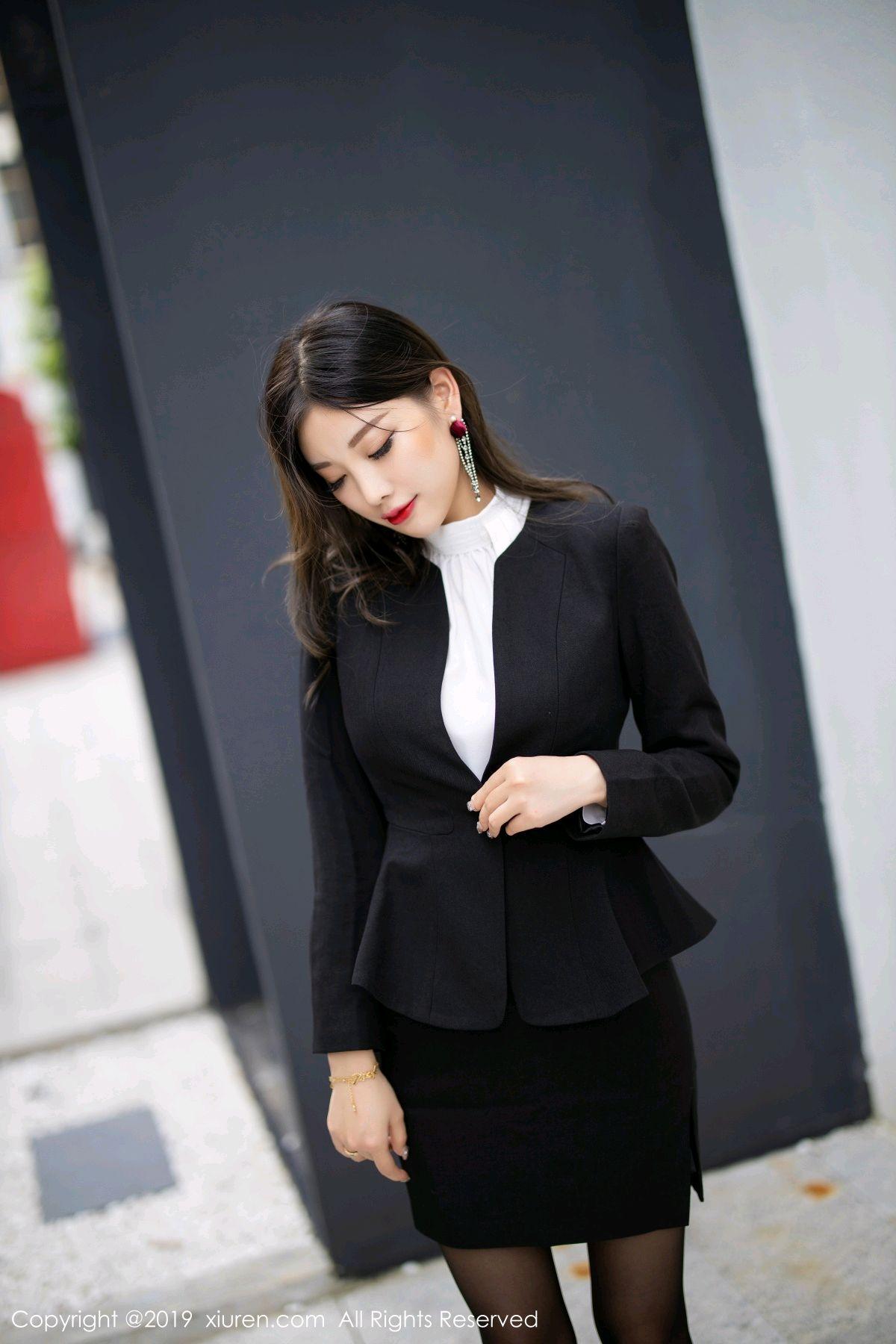 [XiuRen] Vol.1616 Yang Chen Chen 18P, Black Silk, Tall, Uniform, Xiuren, Yang Chen Chen