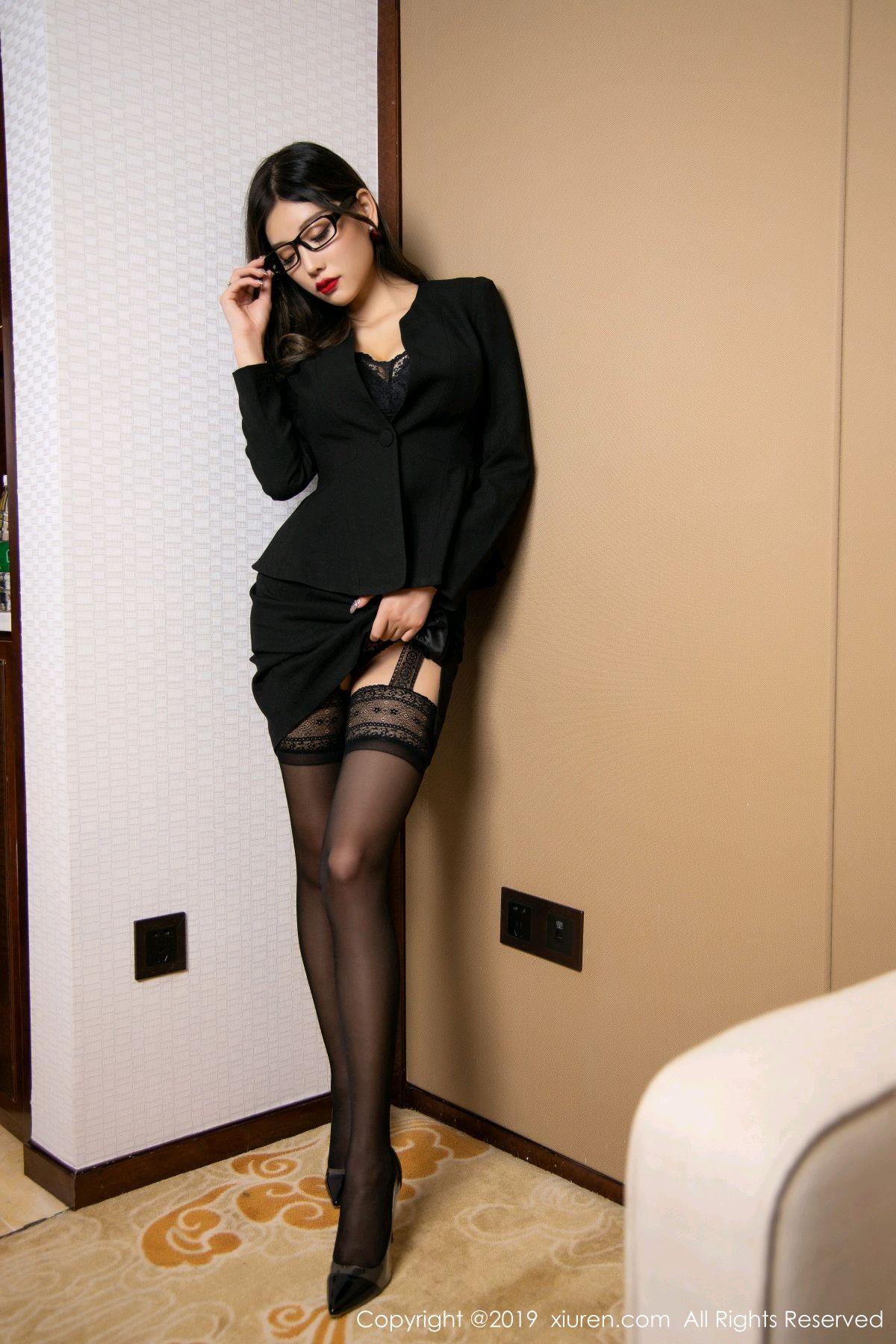 [XiuRen] Vol.1616 Yang Chen Chen 28P, Black Silk, Tall, Uniform, Xiuren, Yang Chen Chen