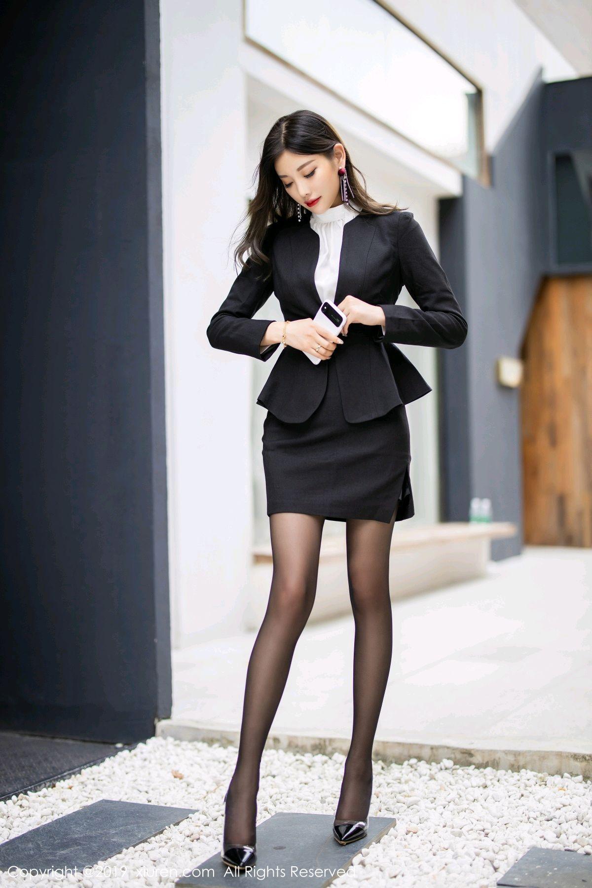 [XiuRen] Vol.1616 Yang Chen Chen 3P, Black Silk, Tall, Uniform, Xiuren, Yang Chen Chen
