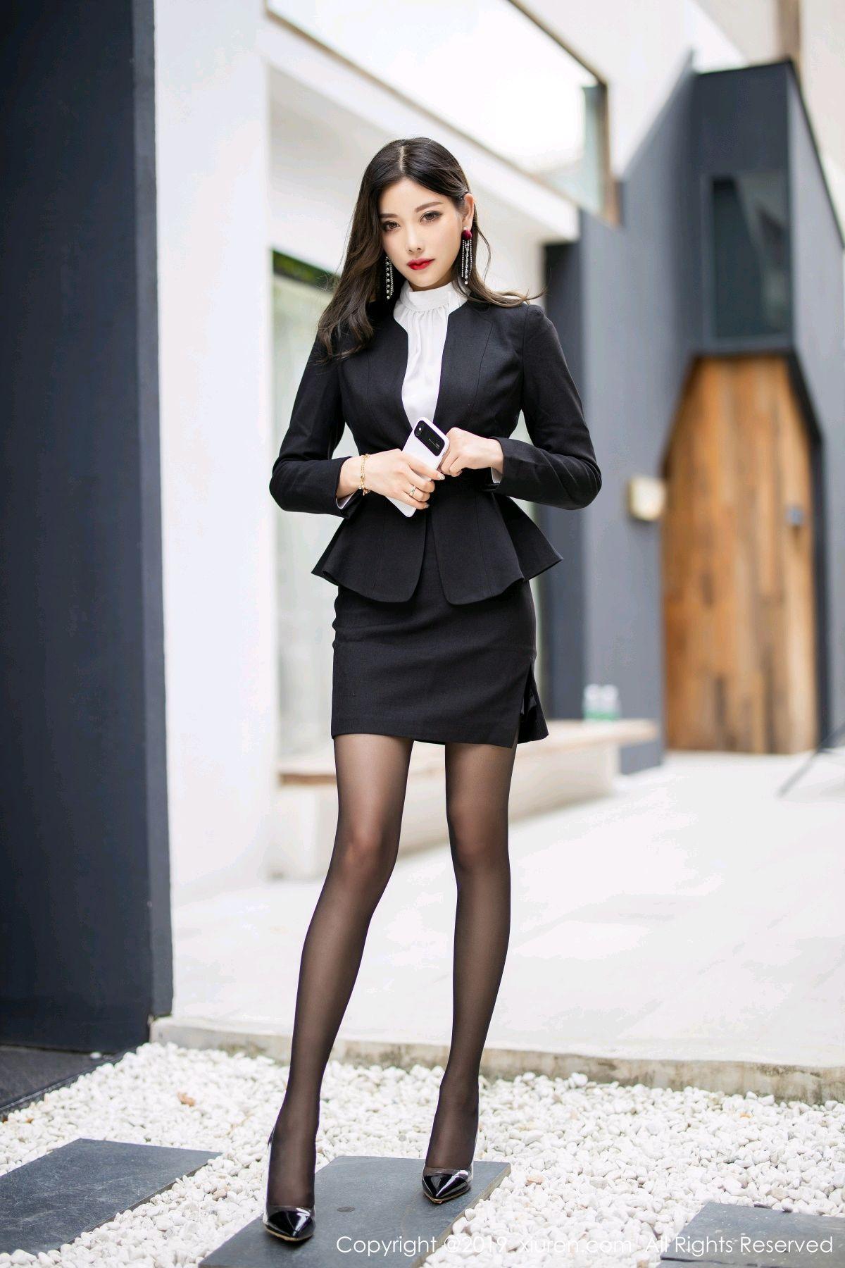 [XiuRen] Vol.1616 Yang Chen Chen 9P, Black Silk, Tall, Uniform, Xiuren, Yang Chen Chen
