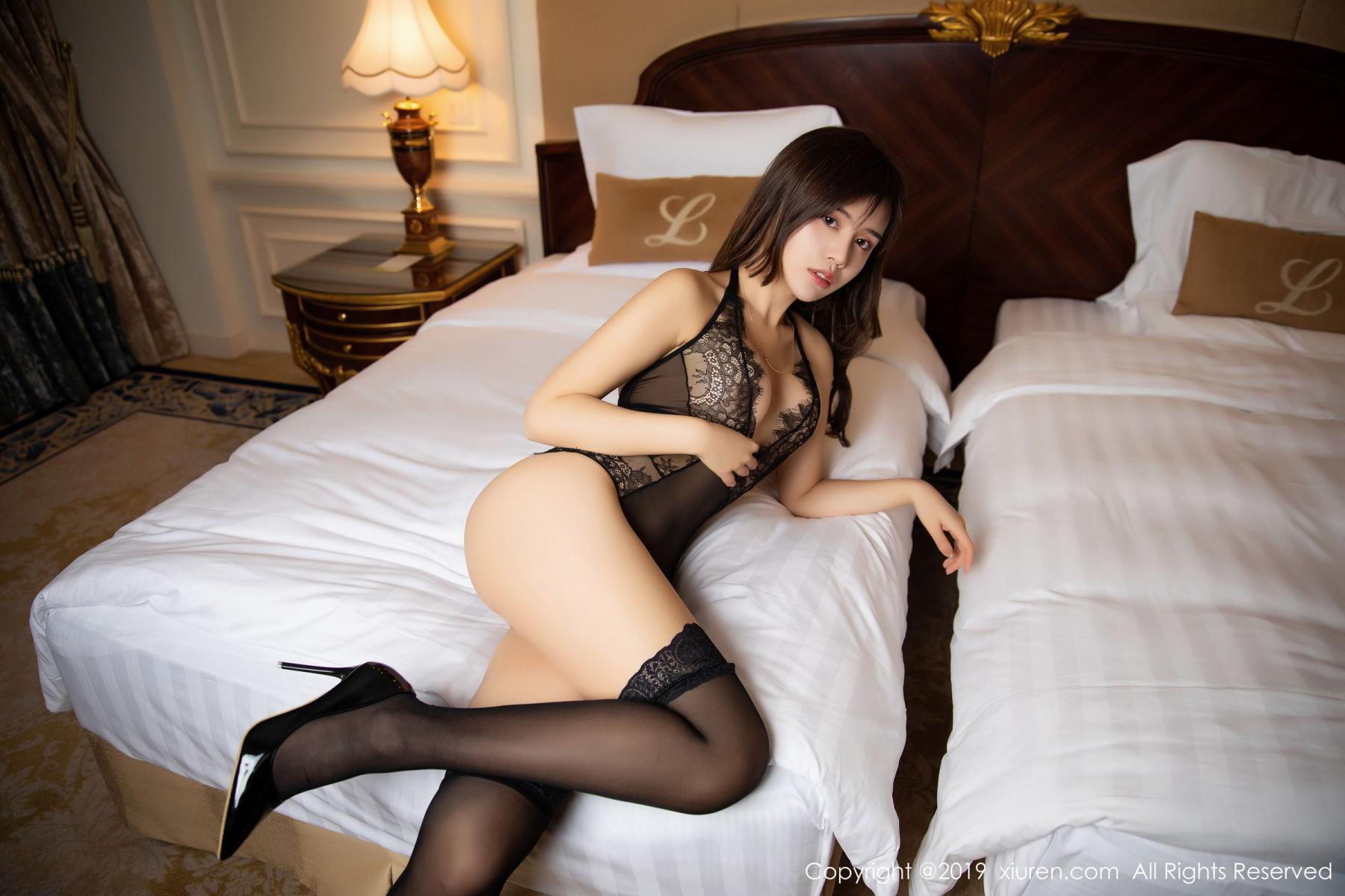 [XiuRen] Vol.1658 Zhuo Ya Qi 14P, Black Silk, Underwear, Xiuren, Zhuo Ya Qi