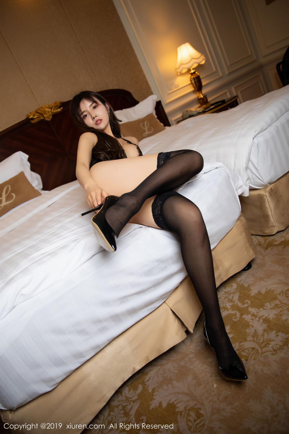 [XiuRen] Vol.1658 Zhuo Ya Qi 7P, Black Silk, Underwear, Xiuren, Zhuo Ya Qi