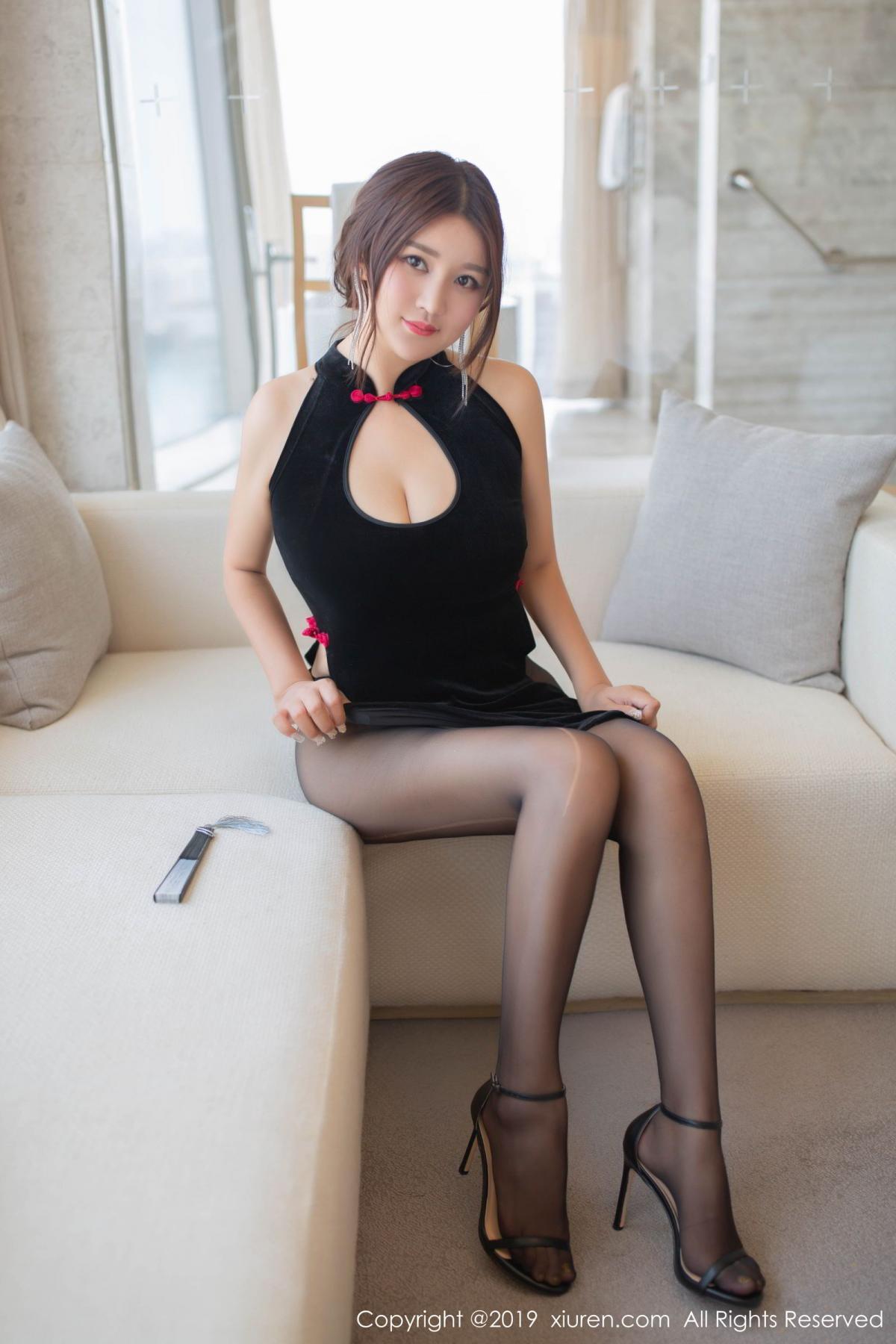 [XiuRen] Vol.1663 Pan Lin Lin 10P, Black Silk, Cheongsam, Pan Lin Lin, Xiuren
