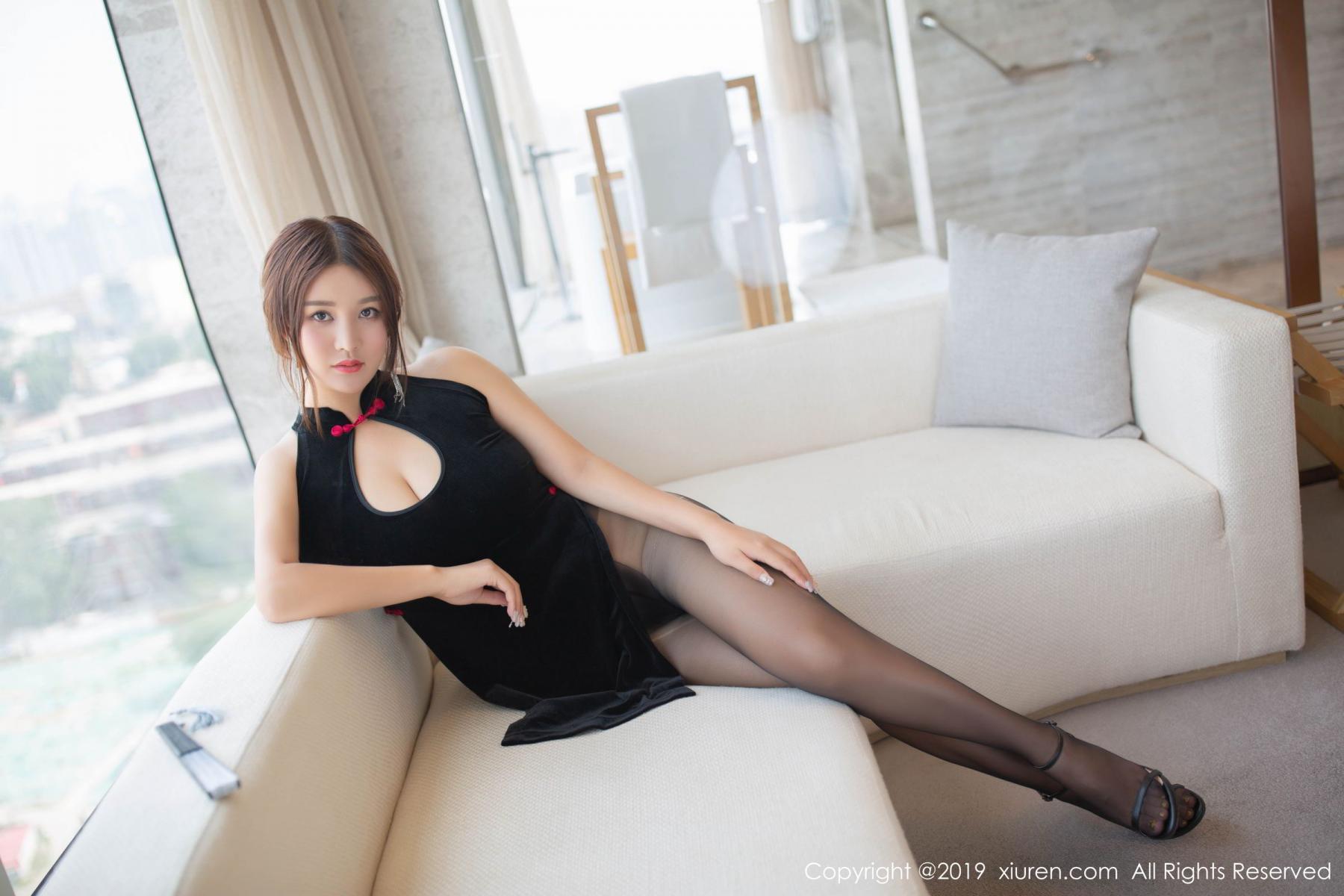 [XiuRen] Vol.1663 Pan Lin Lin 11P, Black Silk, Cheongsam, Pan Lin Lin, Xiuren