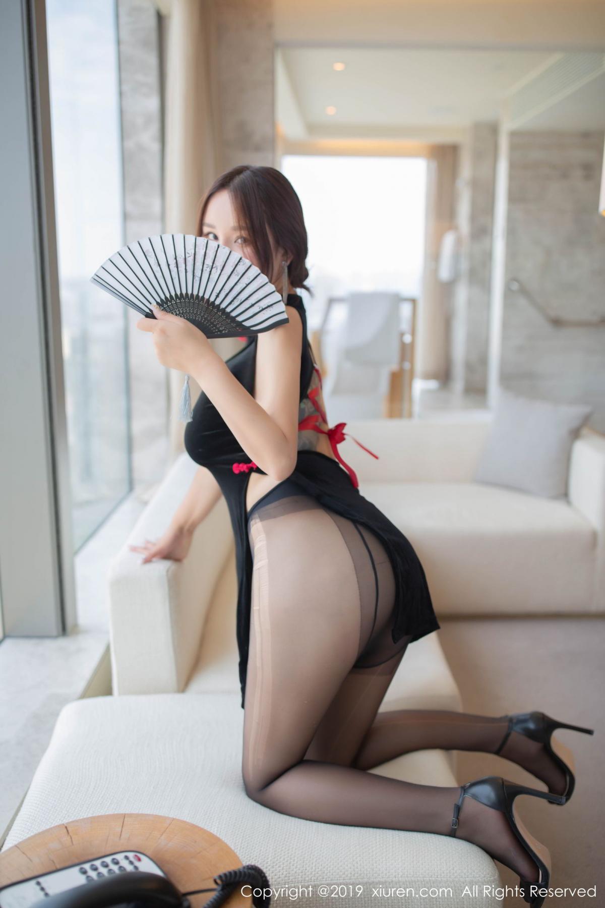 [XiuRen] Vol.1663 Pan Lin Lin 14P, Black Silk, Cheongsam, Pan Lin Lin, Xiuren