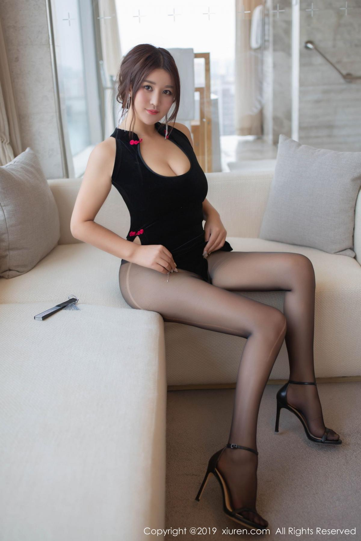 [XiuRen] Vol.1663 Pan Lin Lin 19P, Black Silk, Cheongsam, Pan Lin Lin, Xiuren