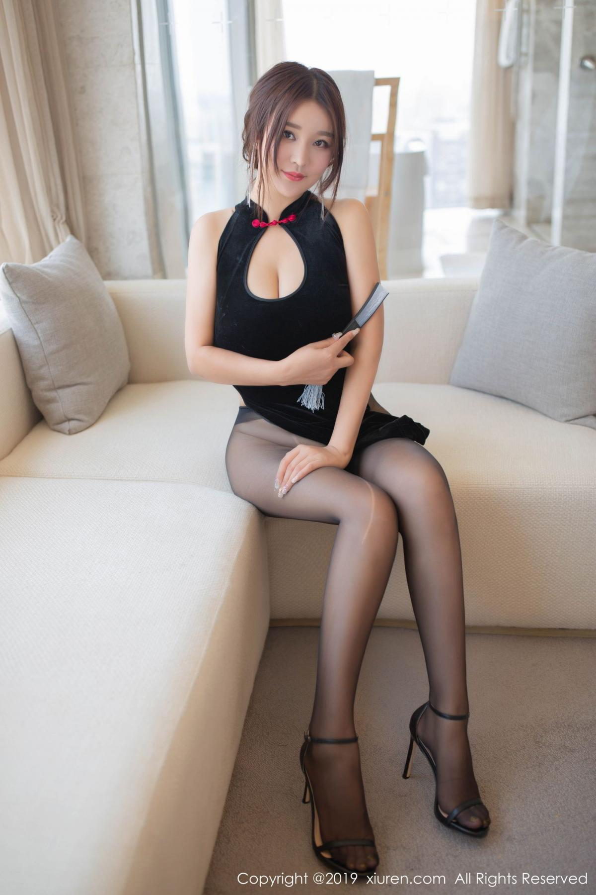 [XiuRen] Vol.1663 Pan Lin Lin 1P, Black Silk, Cheongsam, Pan Lin Lin, Xiuren