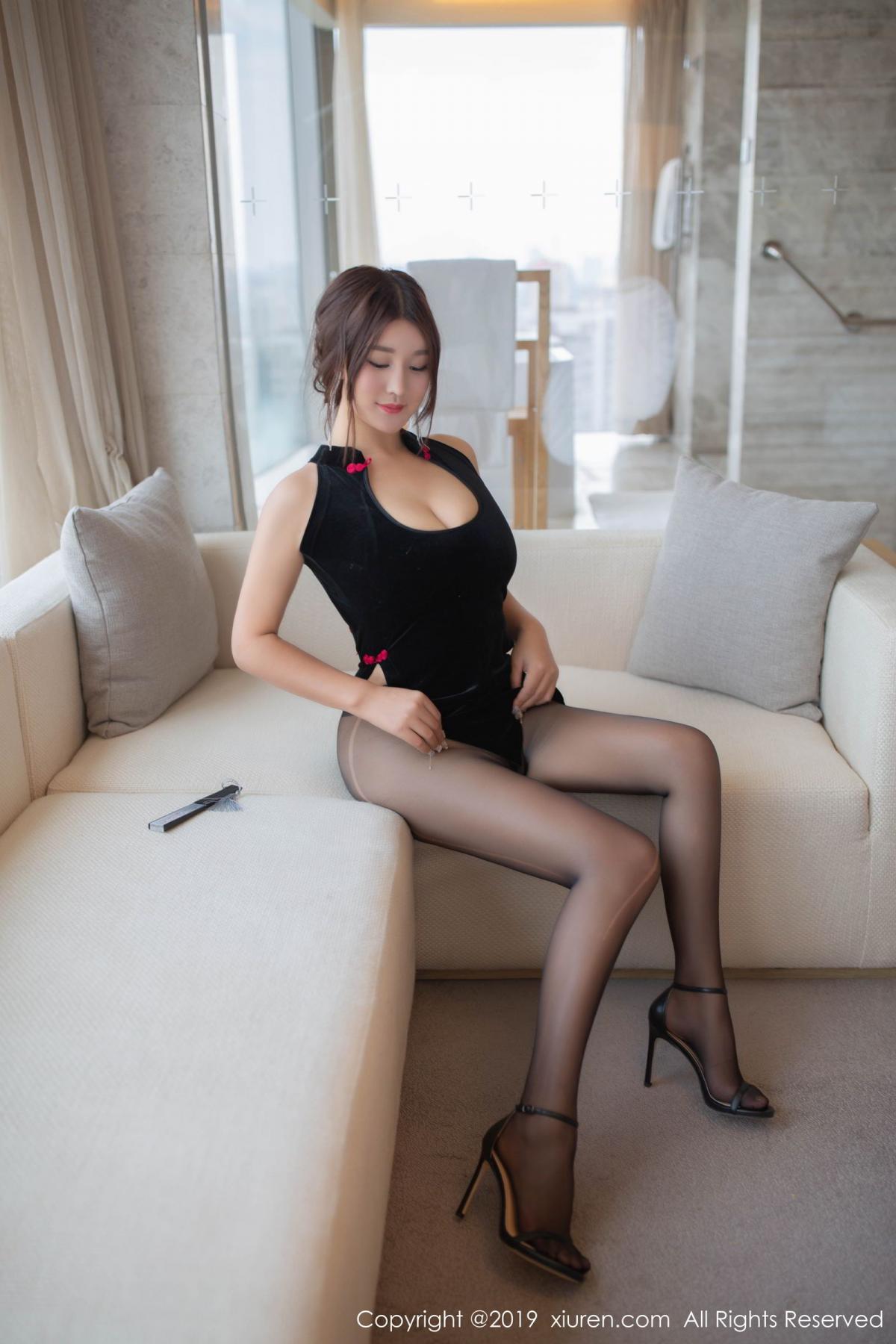 [XiuRen] Vol.1663 Pan Lin Lin 21P, Black Silk, Cheongsam, Pan Lin Lin, Xiuren