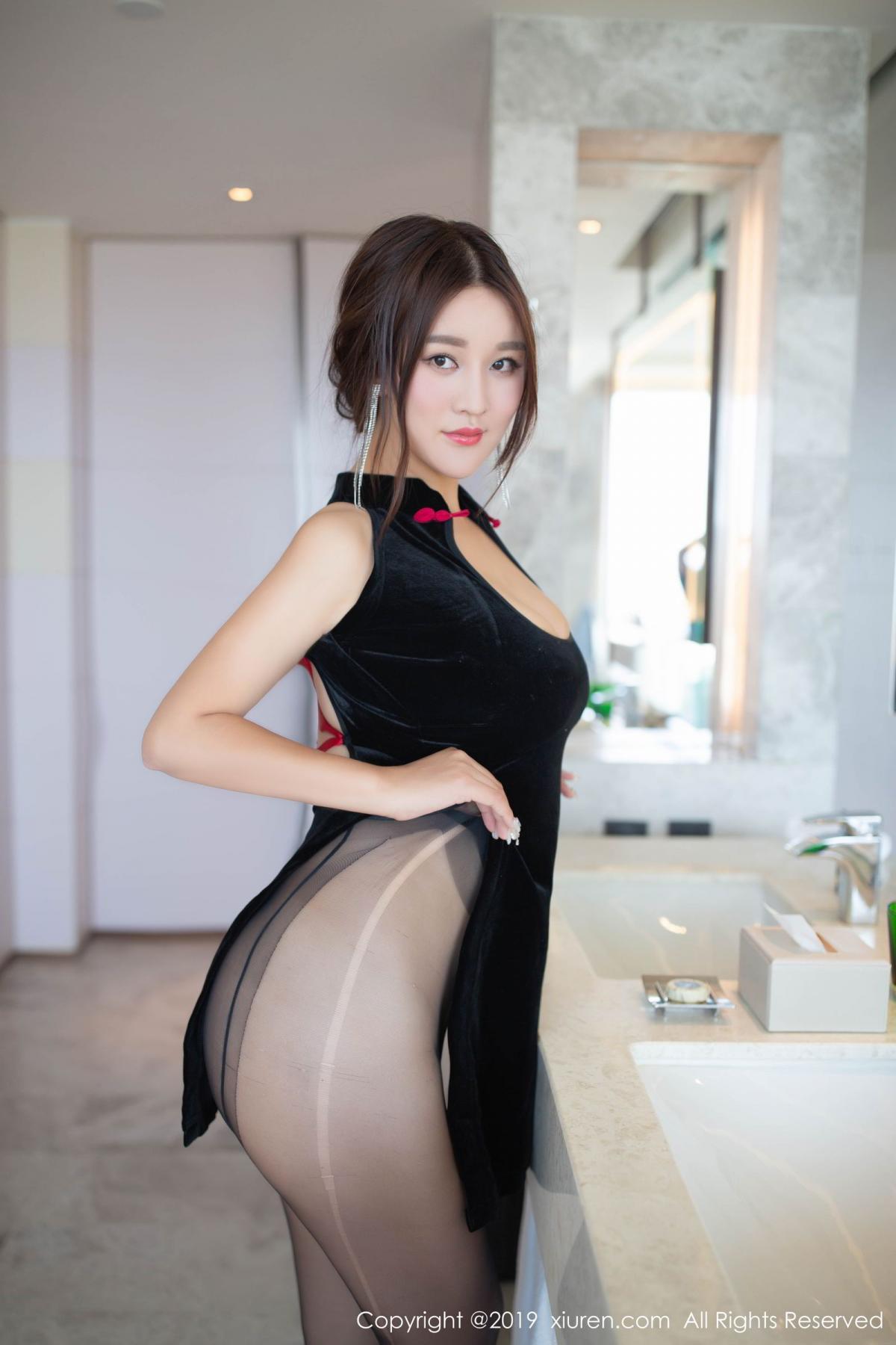 [XiuRen] Vol.1663 Pan Lin Lin 22P, Black Silk, Cheongsam, Pan Lin Lin, Xiuren