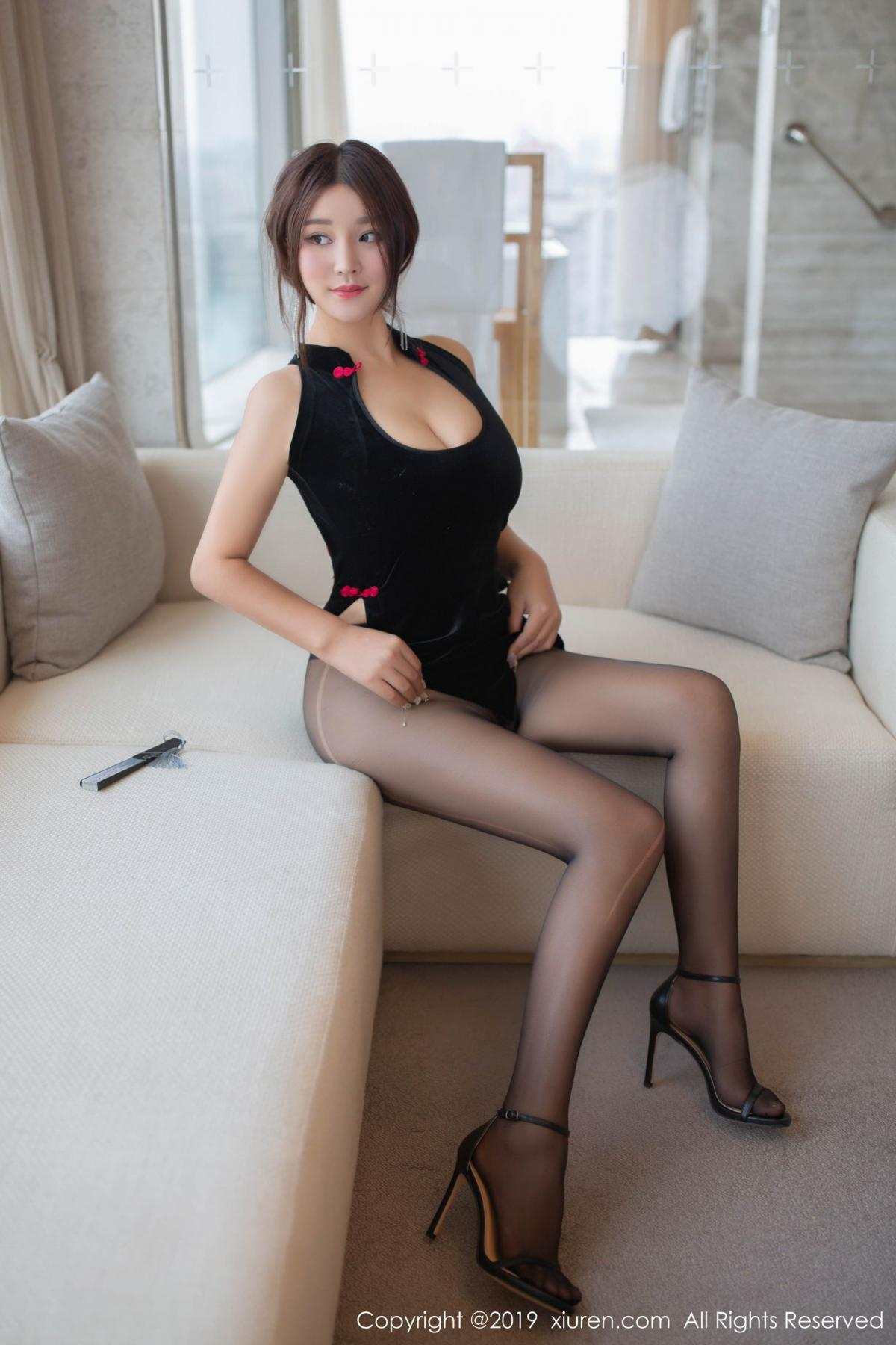 [XiuRen] Vol.1663 Pan Lin Lin 28P, Black Silk, Cheongsam, Pan Lin Lin, Xiuren