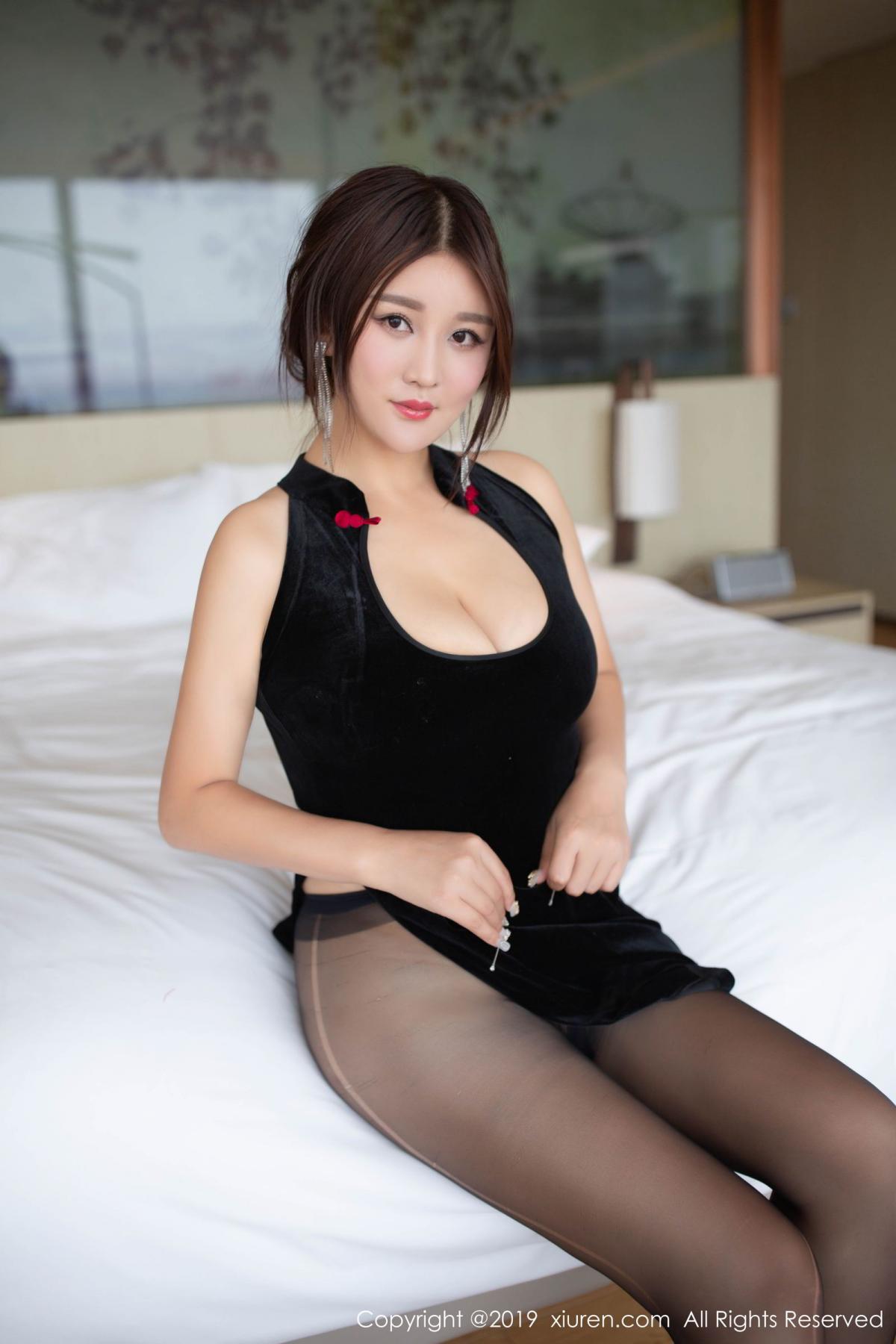 [XiuRen] Vol.1663 Pan Lin Lin 29P, Black Silk, Cheongsam, Pan Lin Lin, Xiuren