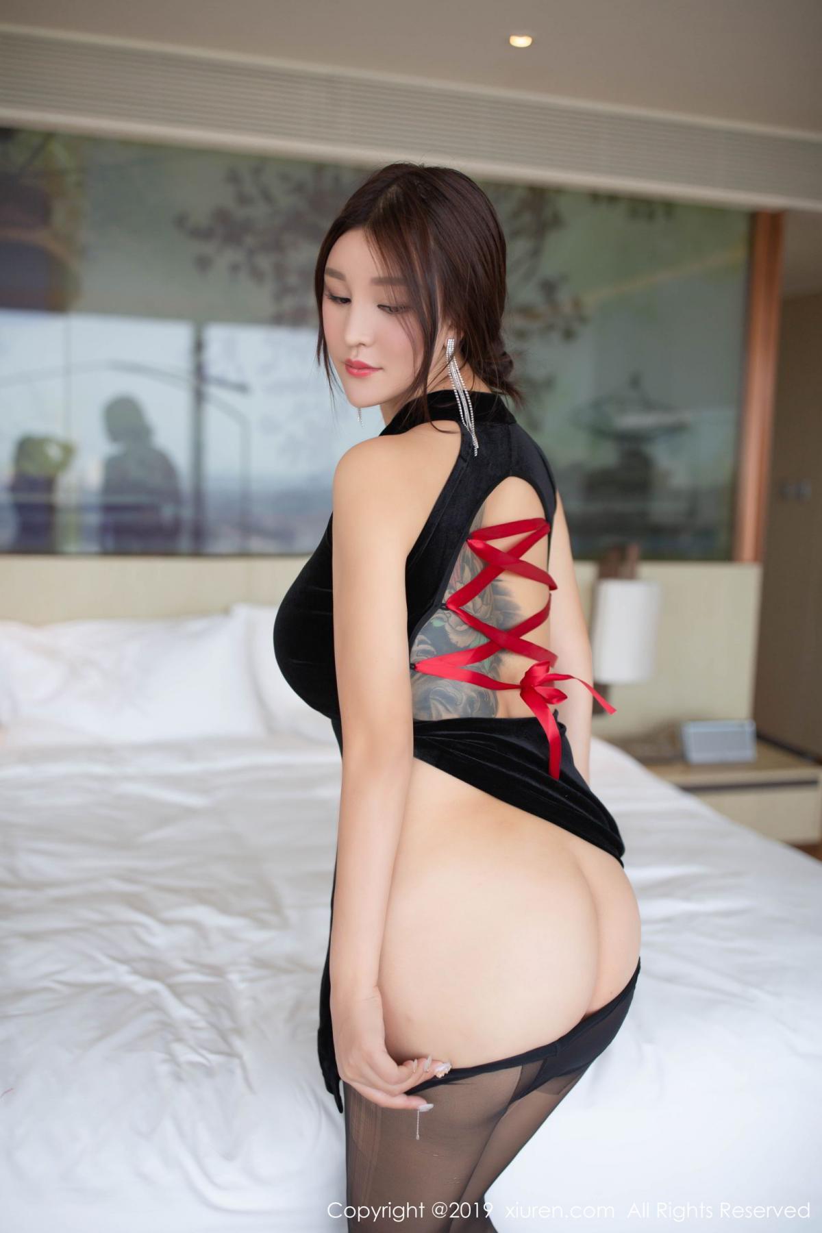 [XiuRen] Vol.1663 Pan Lin Lin 31P, Black Silk, Cheongsam, Pan Lin Lin, Xiuren