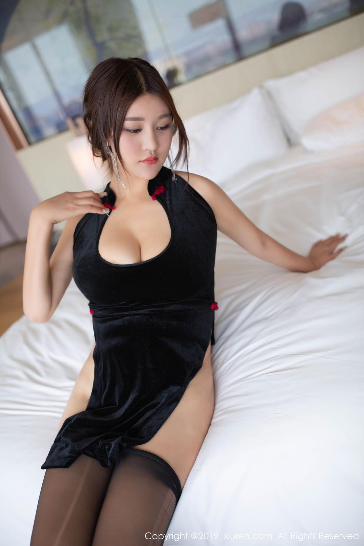 [XiuRen] Vol.1663 Pan Lin Lin 34P, Black Silk, Cheongsam, Pan Lin Lin, Xiuren