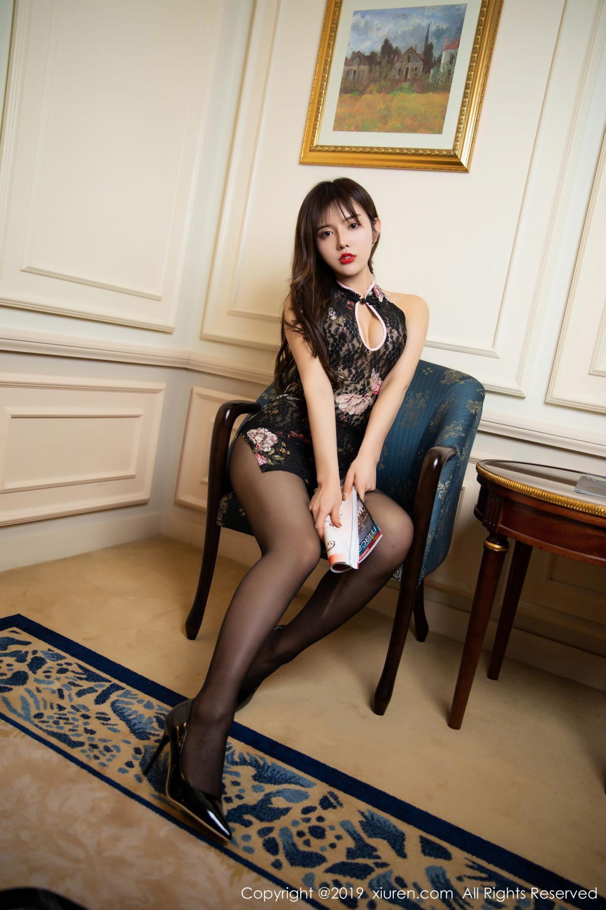 [XiuRen] Vol.1677 Zhuo Ya Qi 14P, Black Silk, Underwear, Xiuren, Zhuo Ya Qi