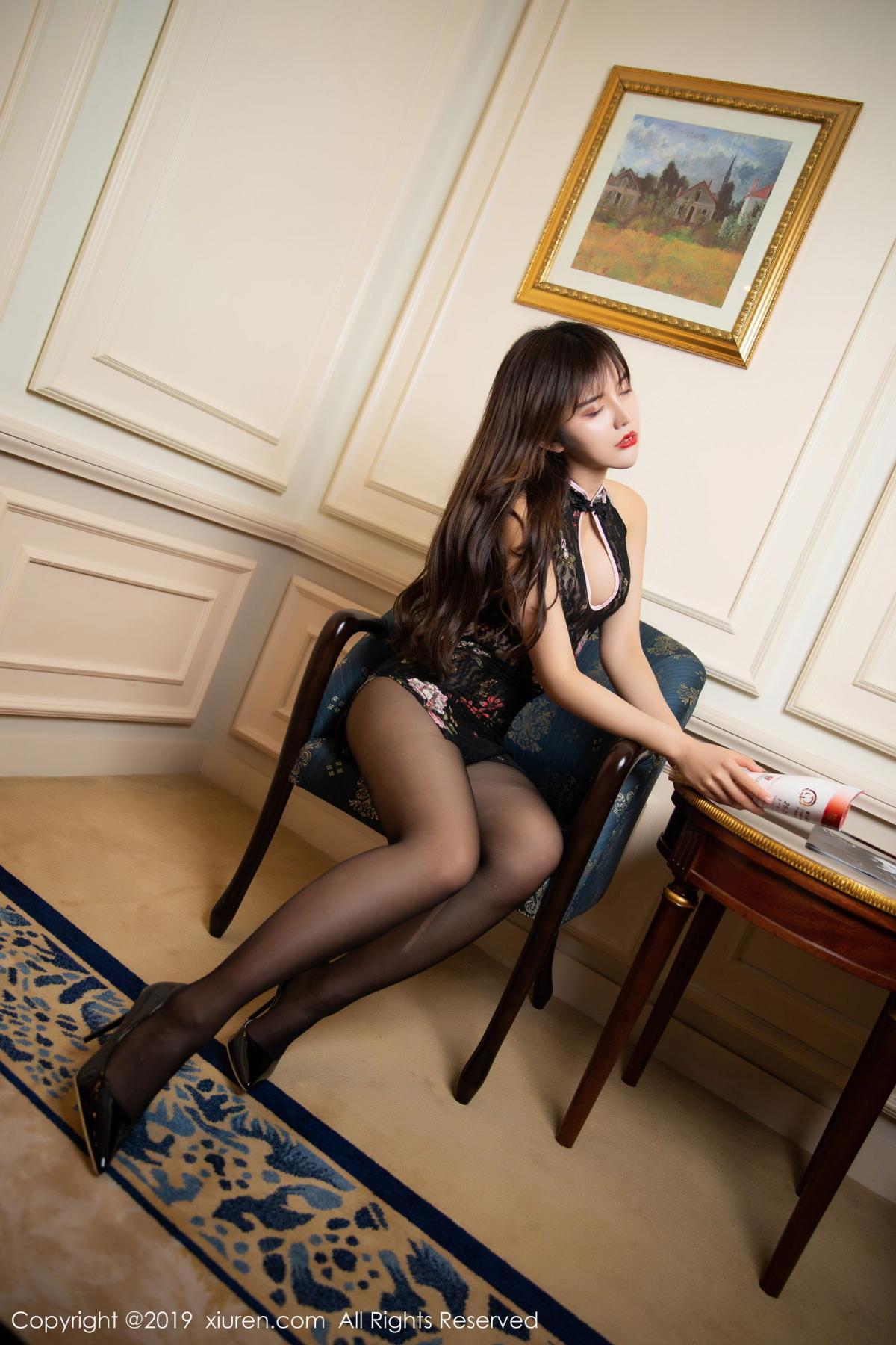 [XiuRen] Vol.1677 Zhuo Ya Qi 16P, Black Silk, Underwear, Xiuren, Zhuo Ya Qi
