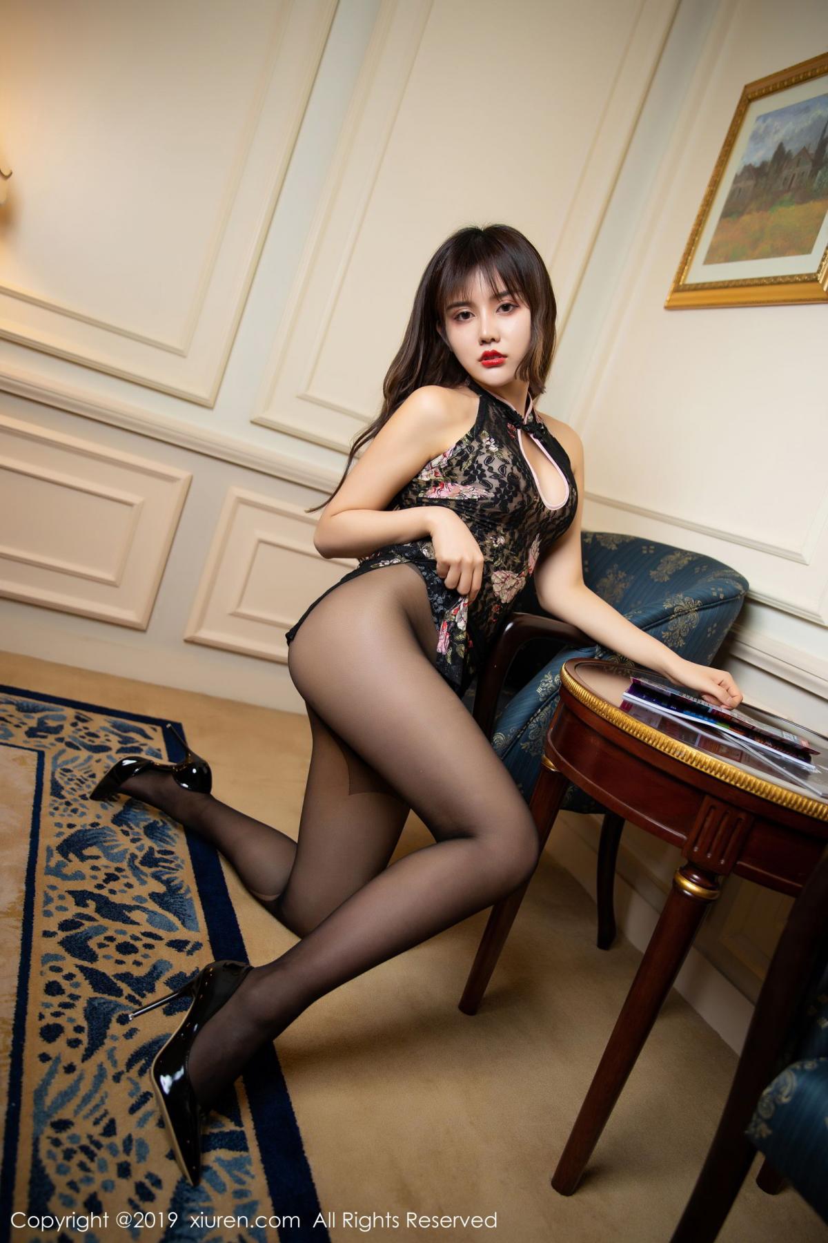 [XiuRen] Vol.1677 Zhuo Ya Qi 32P, Black Silk, Underwear, Xiuren, Zhuo Ya Qi