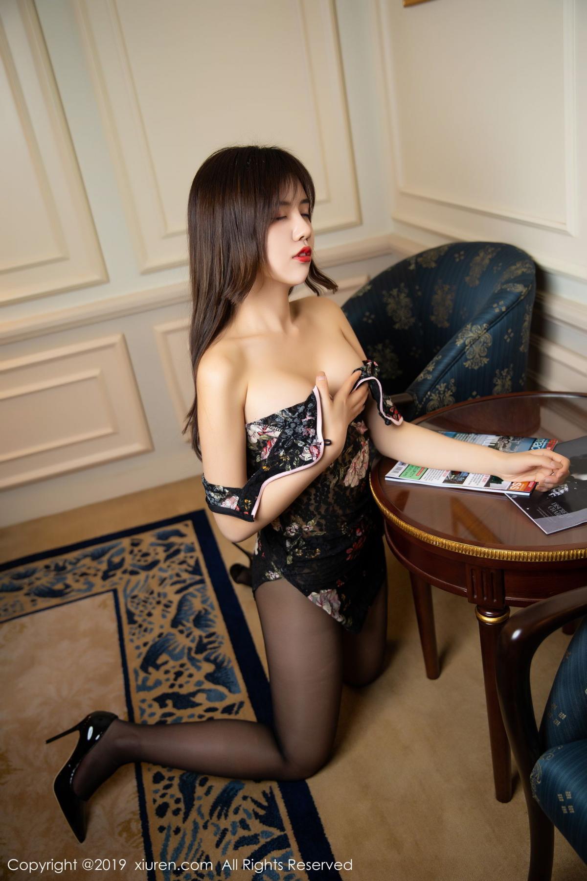 [XiuRen] Vol.1677 Zhuo Ya Qi 38P, Black Silk, Underwear, Xiuren, Zhuo Ya Qi