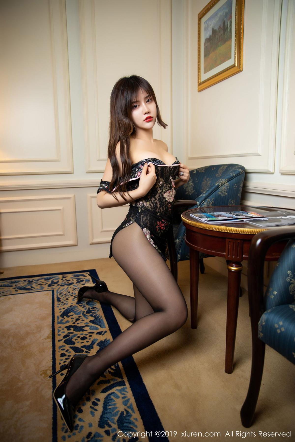 [XiuRen] Vol.1677 Zhuo Ya Qi 39P, Black Silk, Underwear, Xiuren, Zhuo Ya Qi