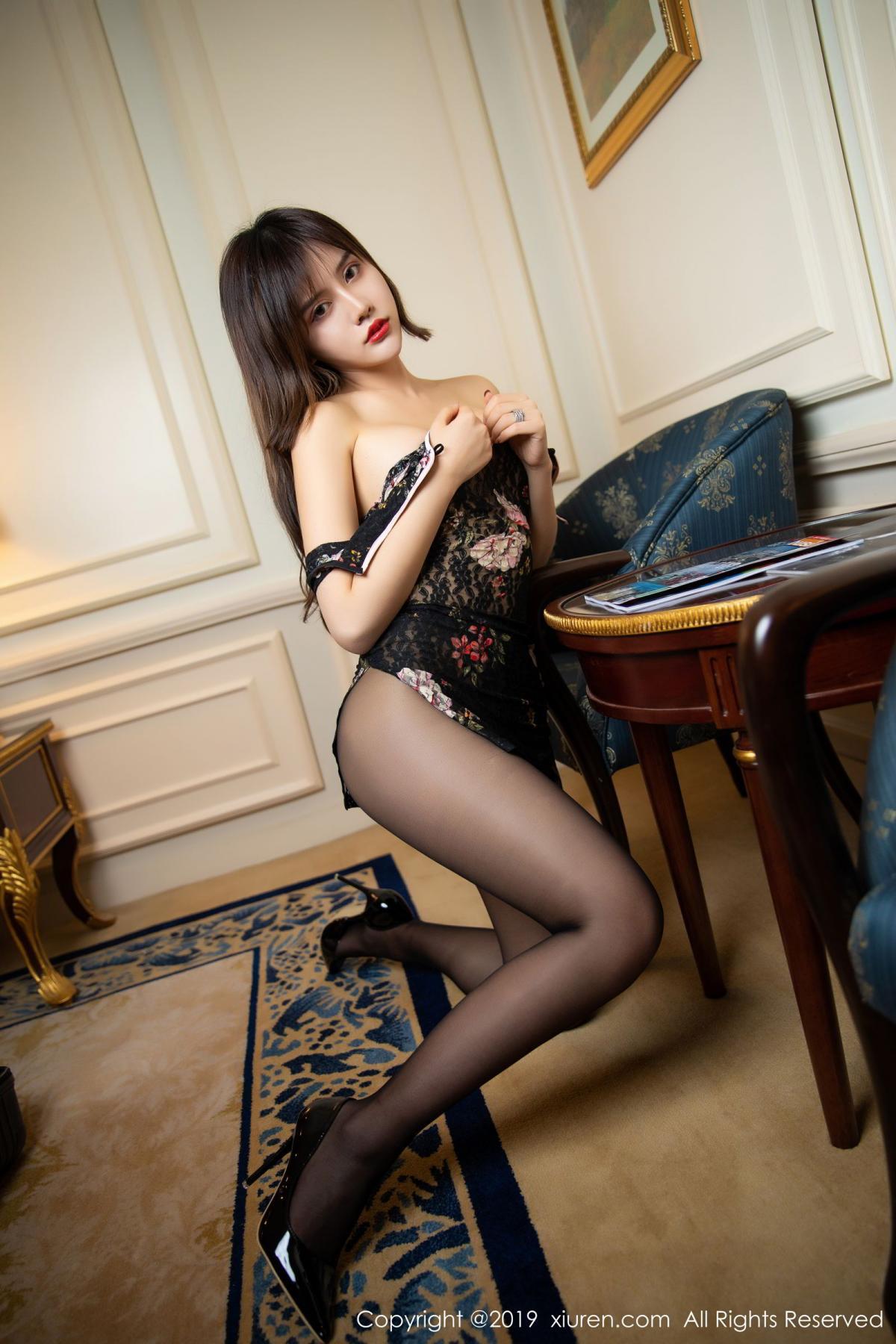 [XiuRen] Vol.1677 Zhuo Ya Qi 44P, Black Silk, Underwear, Xiuren, Zhuo Ya Qi