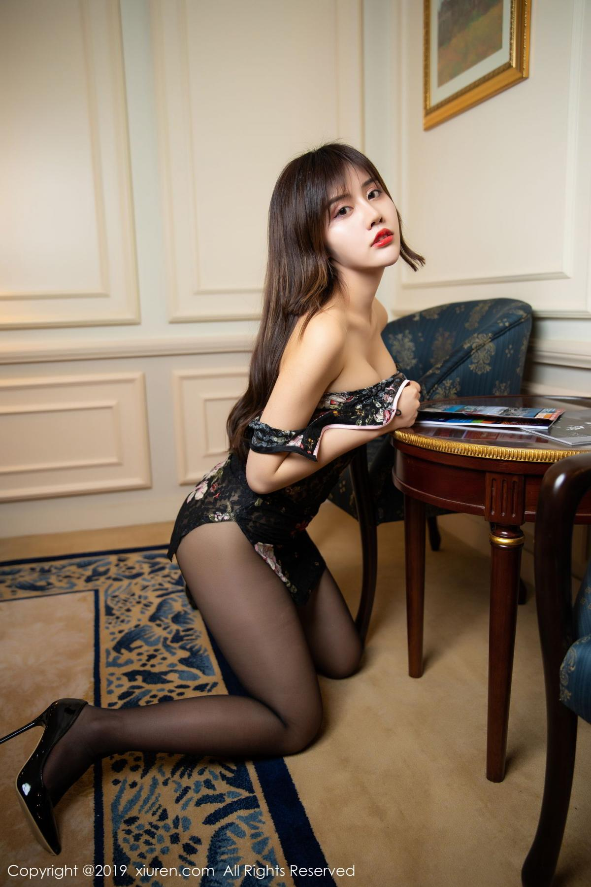 [XiuRen] Vol.1677 Zhuo Ya Qi 5P, Black Silk, Underwear, Xiuren, Zhuo Ya Qi