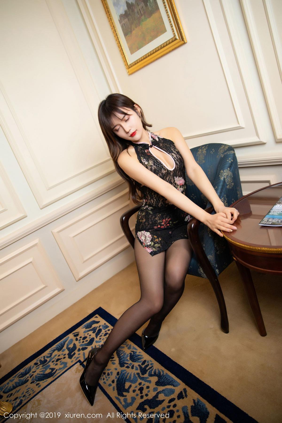 [XiuRen] Vol.1677 Zhuo Ya Qi 9P, Black Silk, Underwear, Xiuren, Zhuo Ya Qi