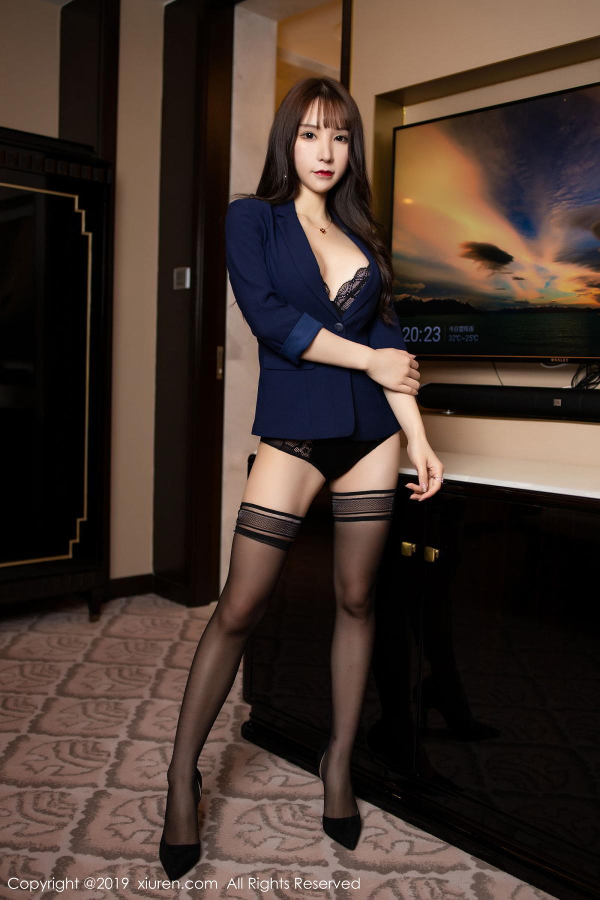 [XiuRen] Vol.1680 Zhou Yu Xi 2P, Black Silk, Underwear, Xiuren, Zhou Yu Xi