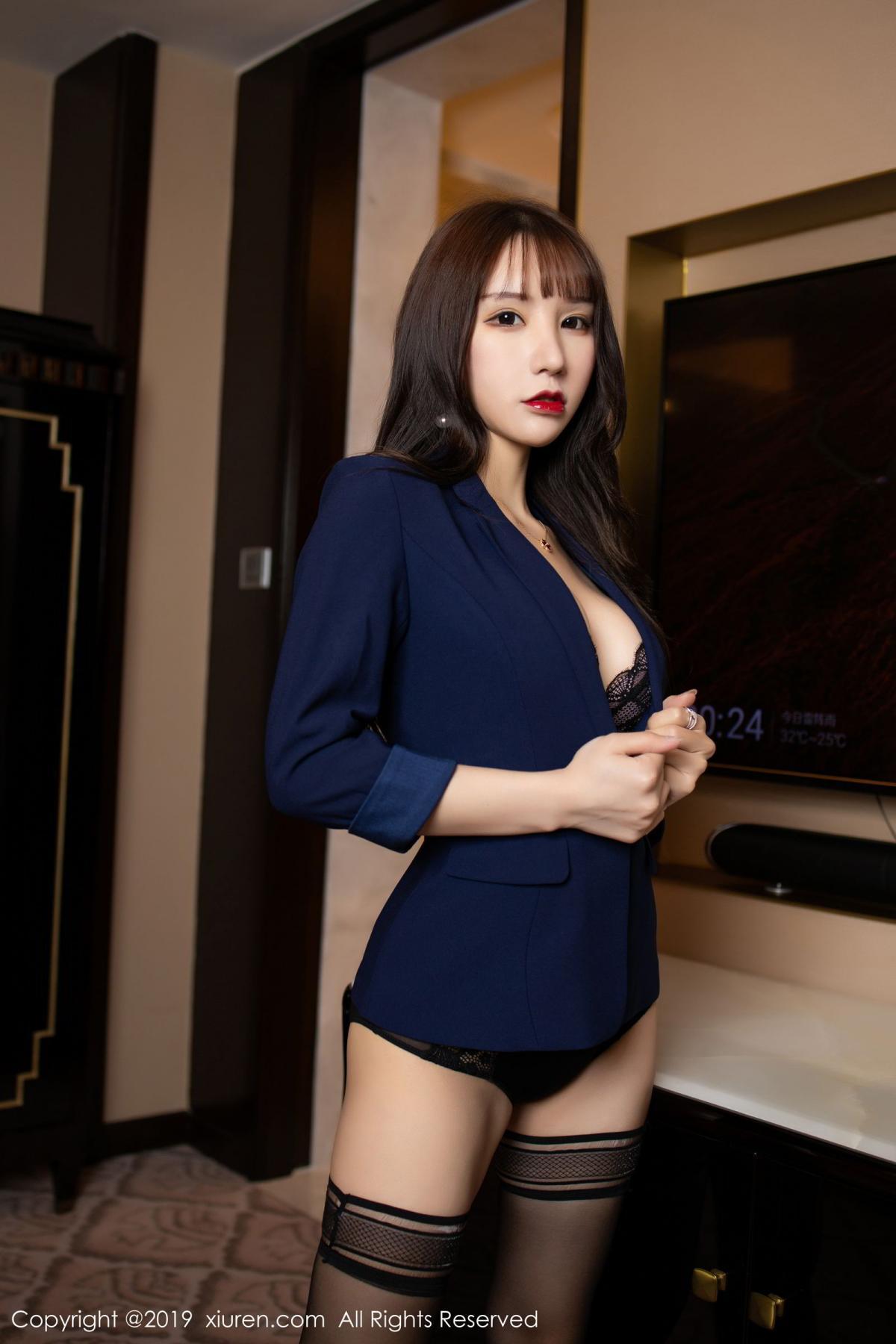 [XiuRen] Vol.1680 Zhou Yu Xi 7P, Black Silk, Underwear, Xiuren, Zhou Yu Xi
