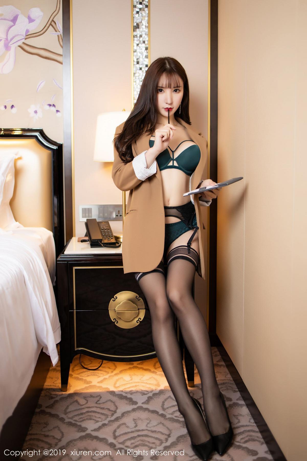 [XiuRen] Vol.1687 Zhou Yu Xi 12P, Black Silk, Underwear, Xiuren, Zhou Yu Xi