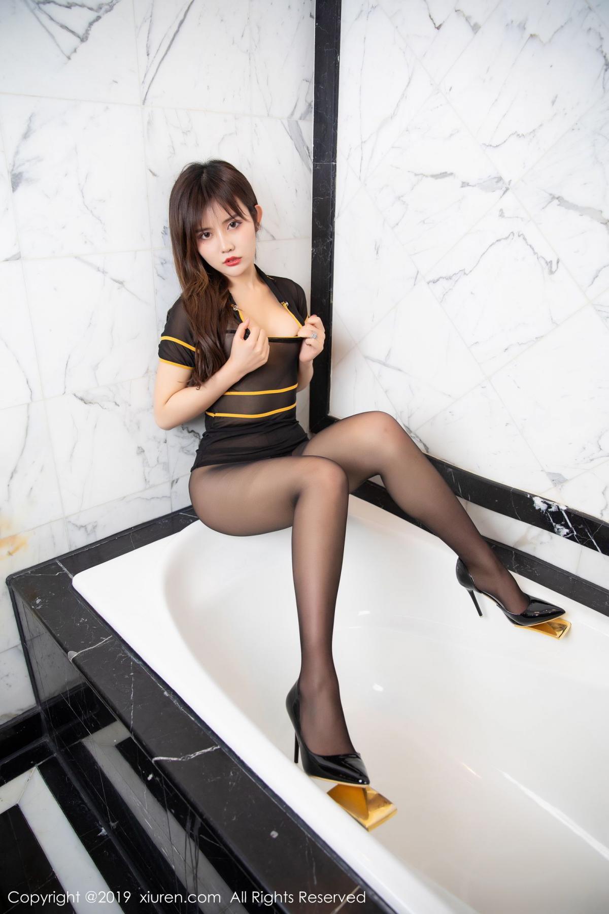 [XiuRen] Vol.1688 Zhuo Ya Qi 32P, Black Silk, Underwear, Xiuren, Zhuo Ya Qi