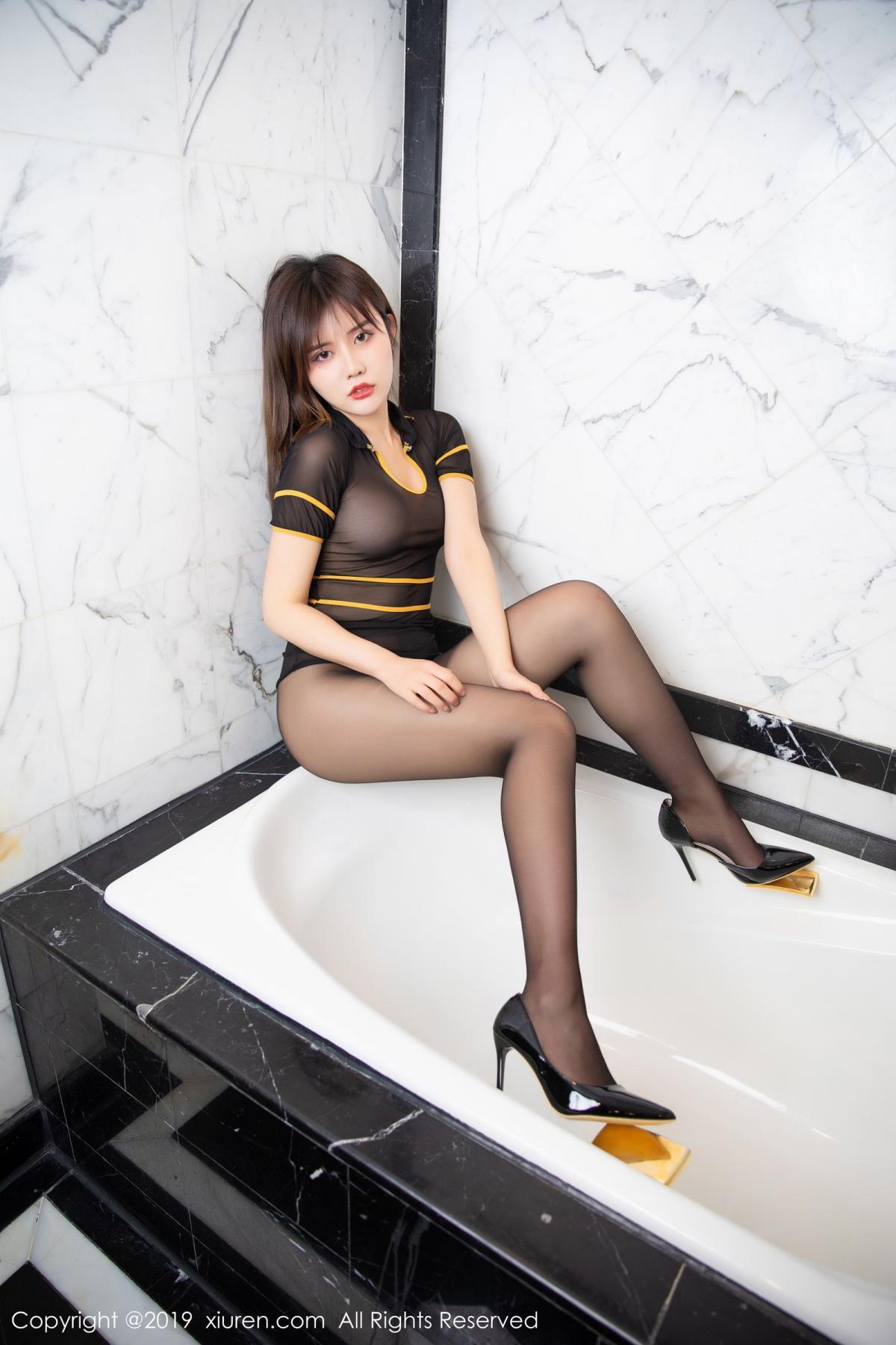 [XiuRen] Vol.1688 Zhuo Ya Qi 35P, Black Silk, Underwear, Xiuren, Zhuo Ya Qi