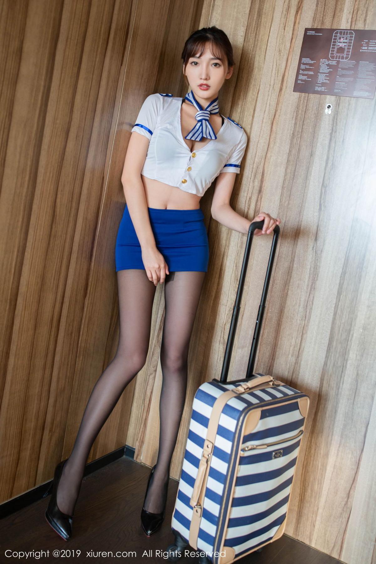 [XiuRen] Vol.1716 Lu Xuan Xuan 2 2P, Black Silk, Lu Xuan Xuan, Stewardess, Uniform, Xiuren