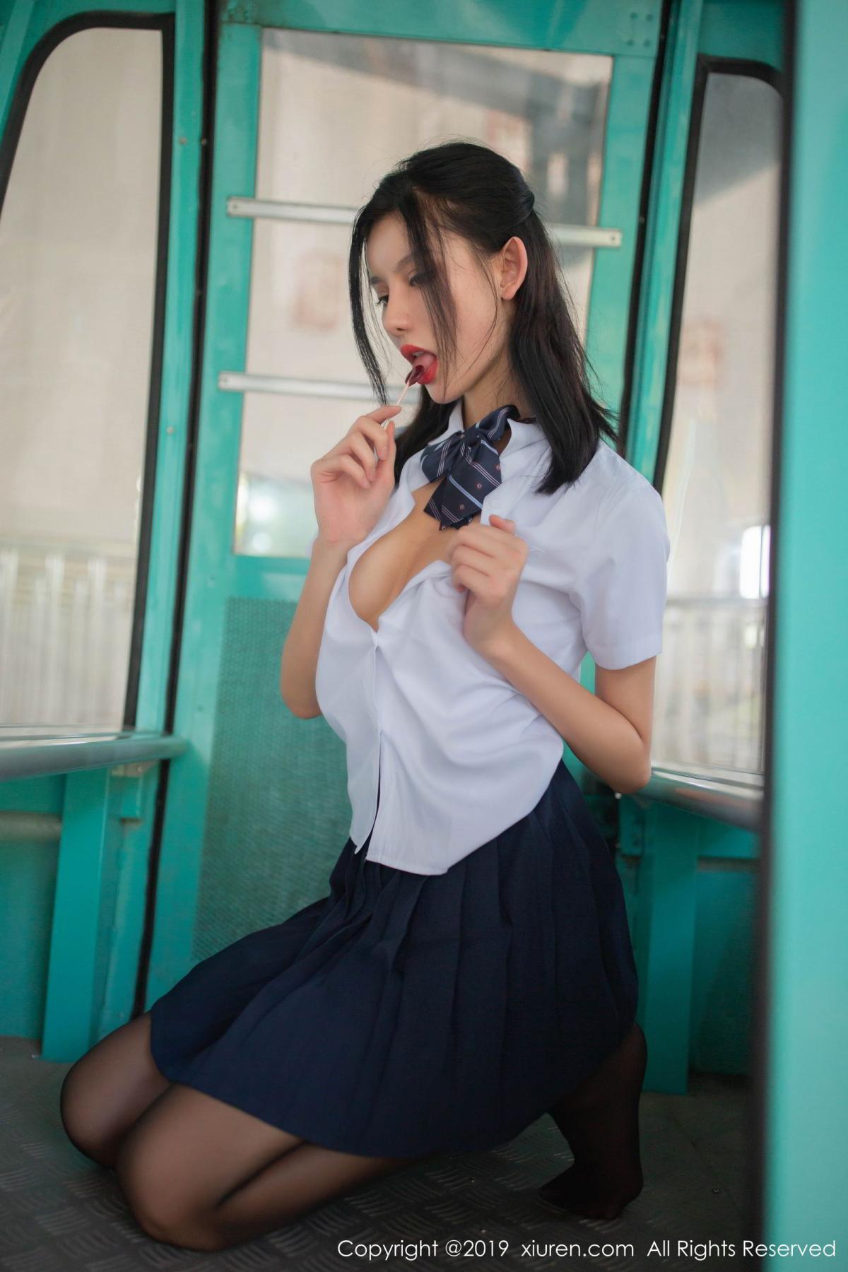 [XiuRen] Vol.1723 Jiu Shi A Zhu 29P, Black Silk, Jiu Shi A Zhu, School Uniform, Xiuren