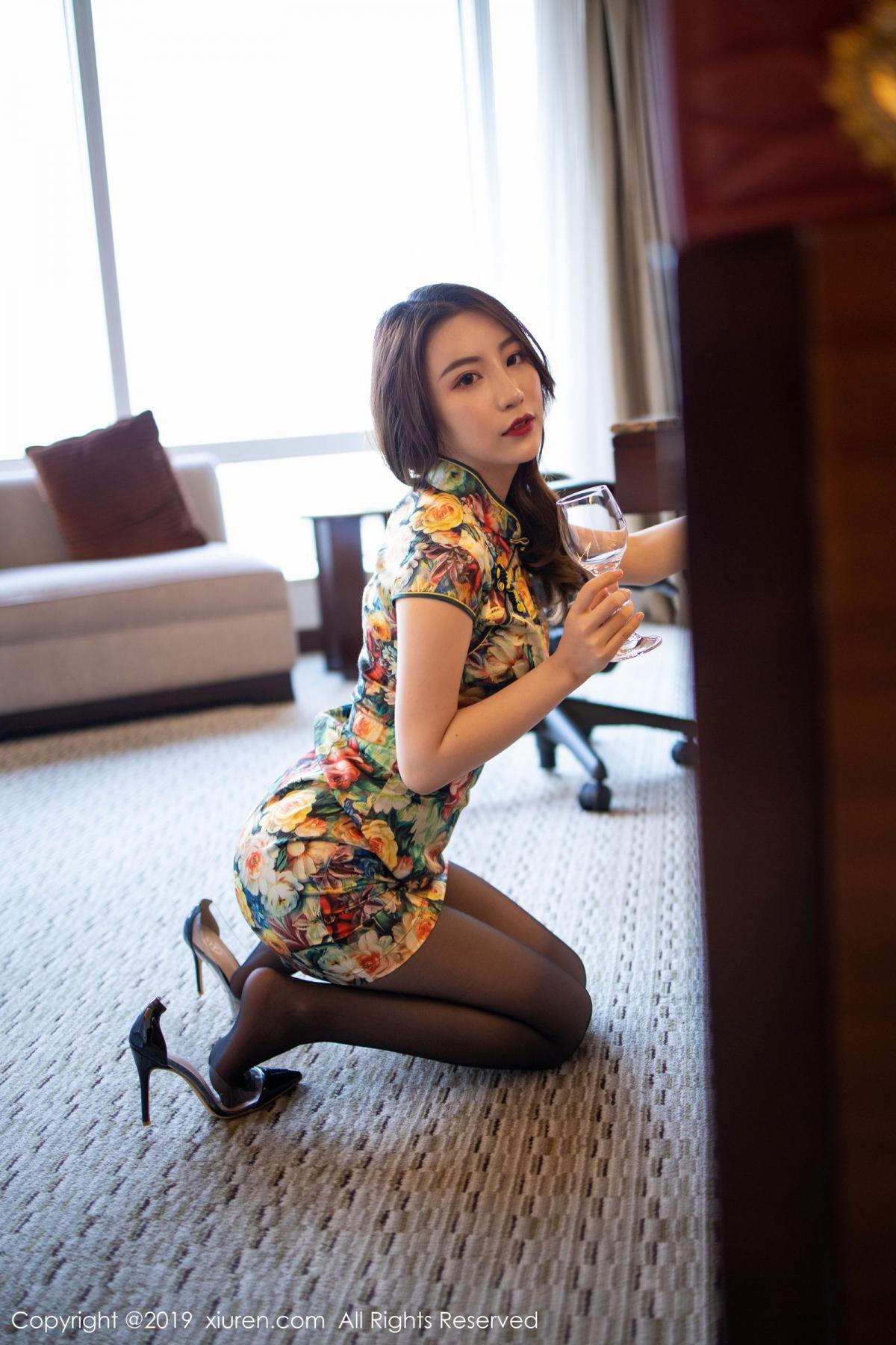 [XiuRen] Vol.1727 Xie Zhi Xin 16P, Big Booty, Black Silk, Cheongsam, Xie Zhi Xin, Xiuren