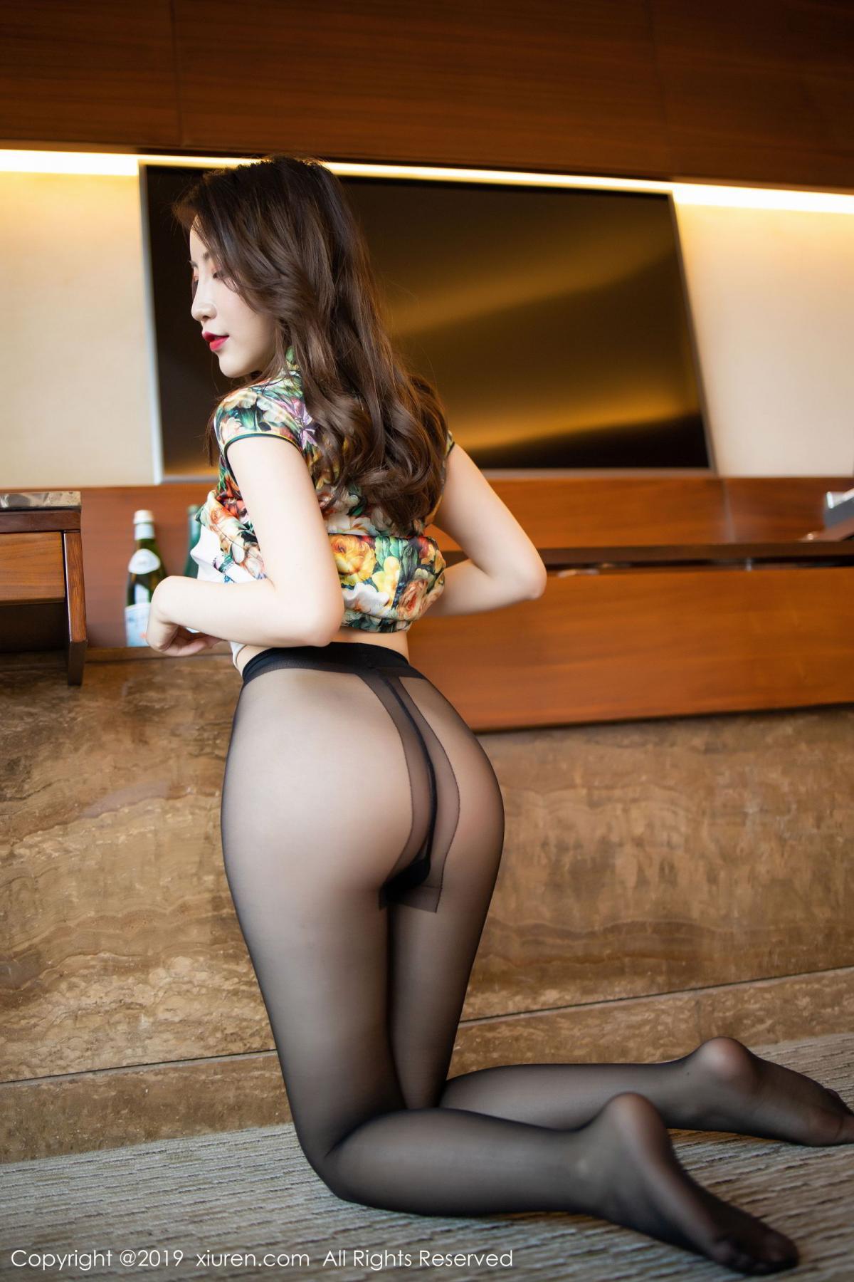 [XiuRen] Vol.1727 Xie Zhi Xin 48P, Big Booty, Black Silk, Cheongsam, Xie Zhi Xin, Xiuren