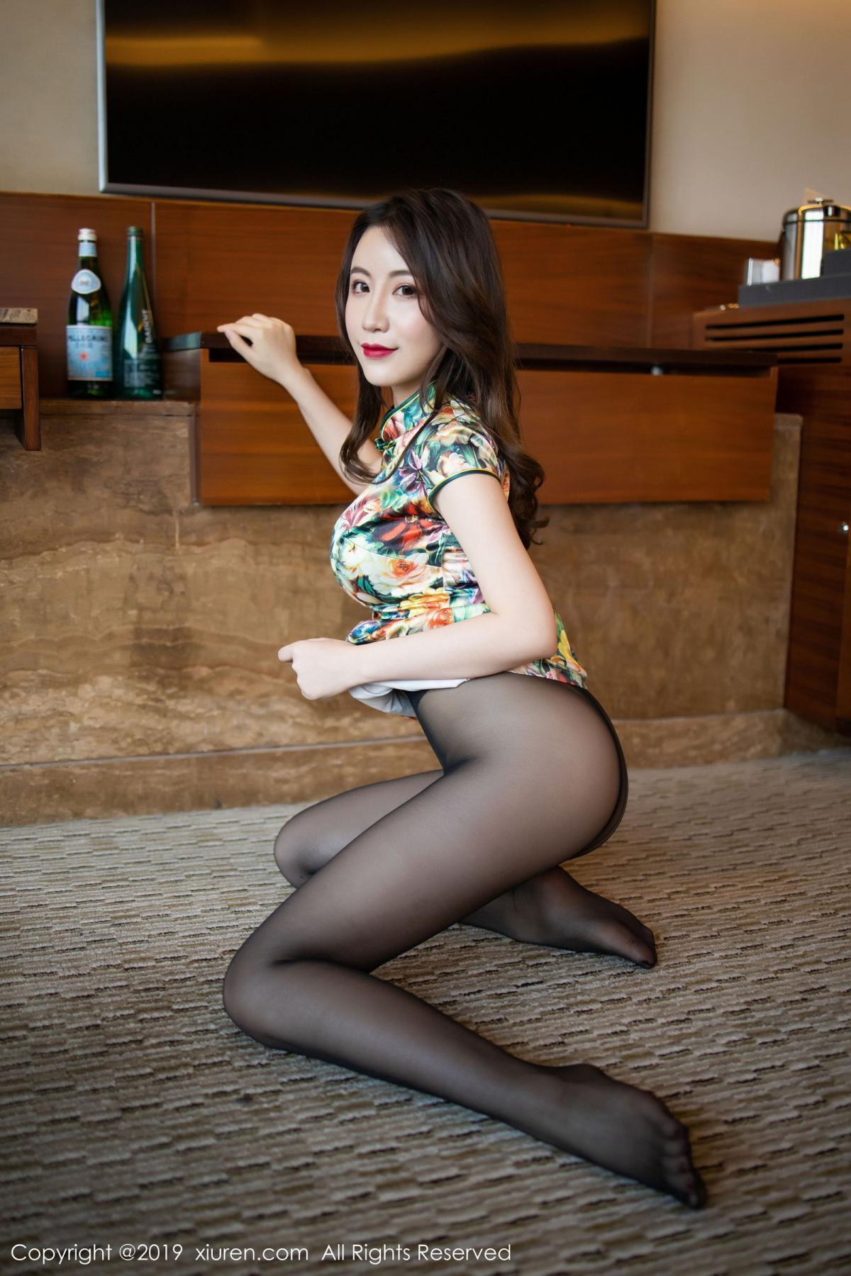 [XiuRen] Vol.1727 Xie Zhi Xin 50P, Big Booty, Black Silk, Cheongsam, Xie Zhi Xin, Xiuren
