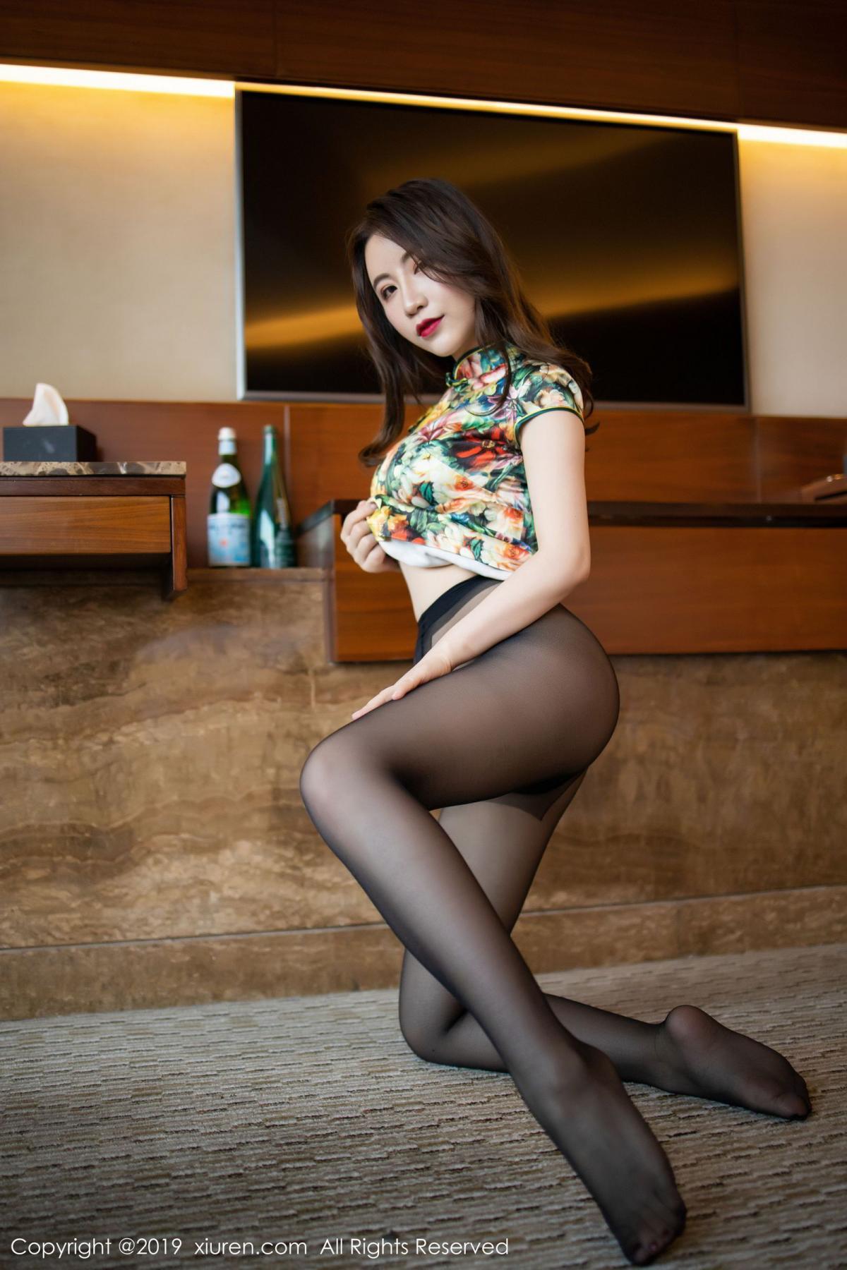 [XiuRen] Vol.1727 Xie Zhi Xin 51P, Big Booty, Black Silk, Cheongsam, Xie Zhi Xin, Xiuren