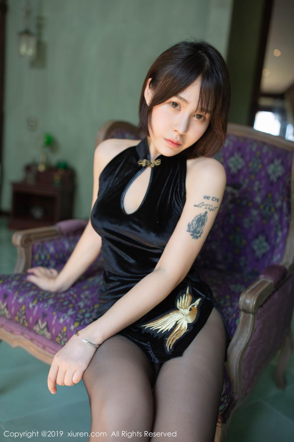 [XiuRen] Vol.1773 Evelyn Ai Li 11P, Black Silk, Cheongsam, Evelyn Ai Li, Xiuren