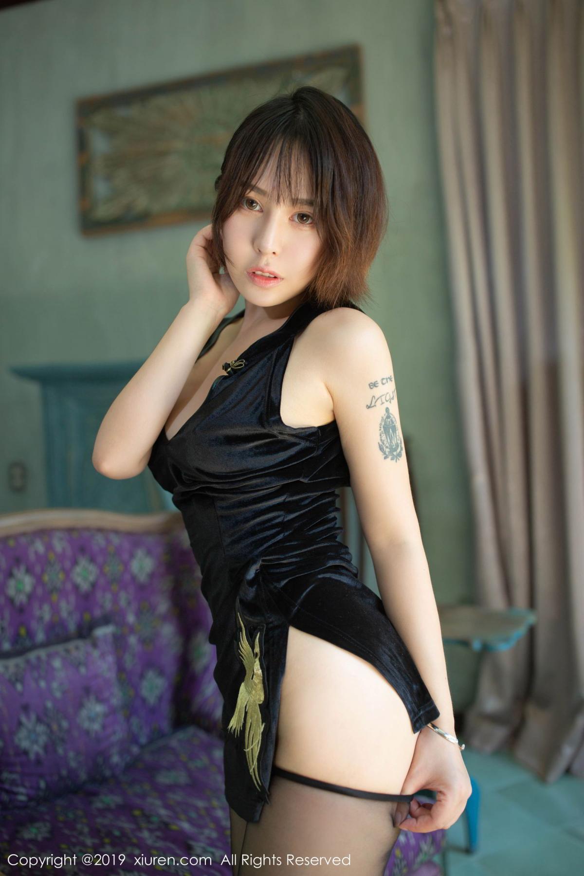 [XiuRen] Vol.1773 Evelyn Ai Li 13P, Black Silk, Cheongsam, Evelyn Ai Li, Xiuren