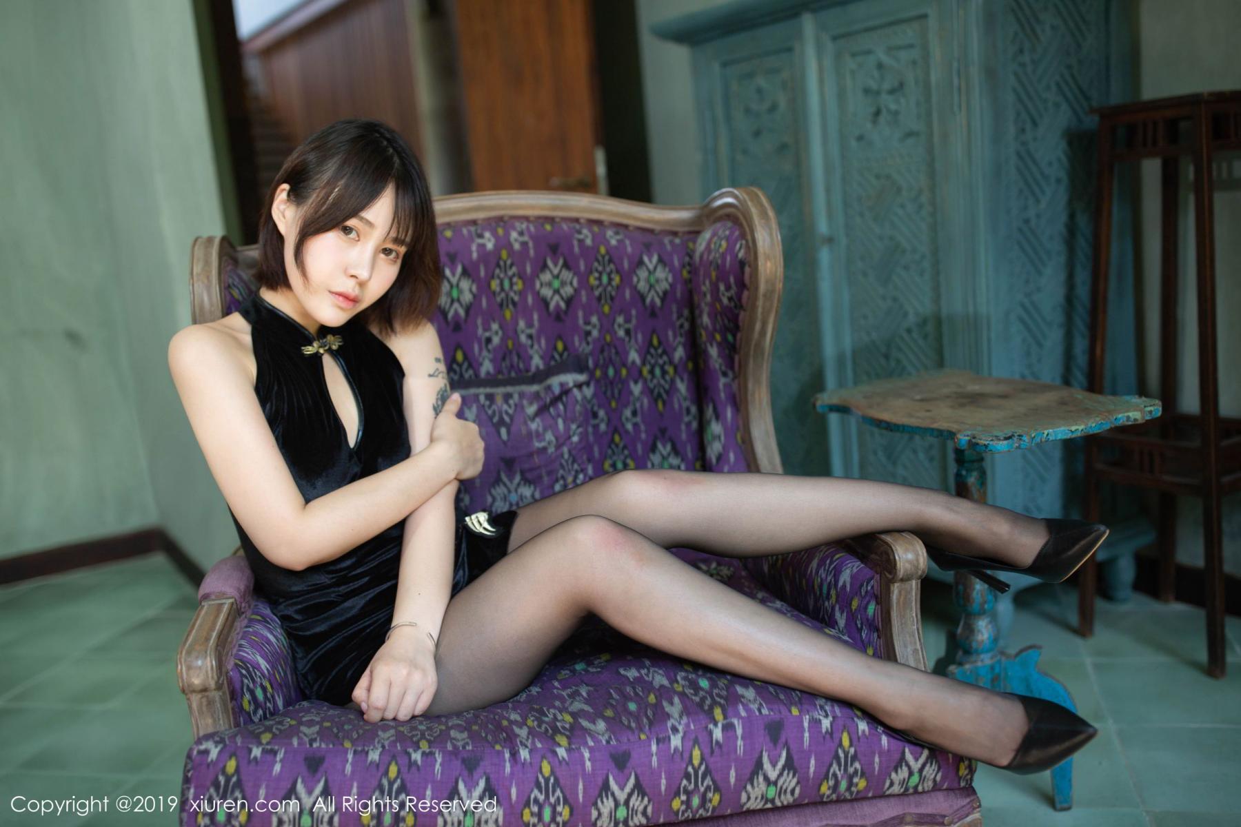 [XiuRen] Vol.1773 Evelyn Ai Li 18P, Black Silk, Cheongsam, Evelyn Ai Li, Xiuren