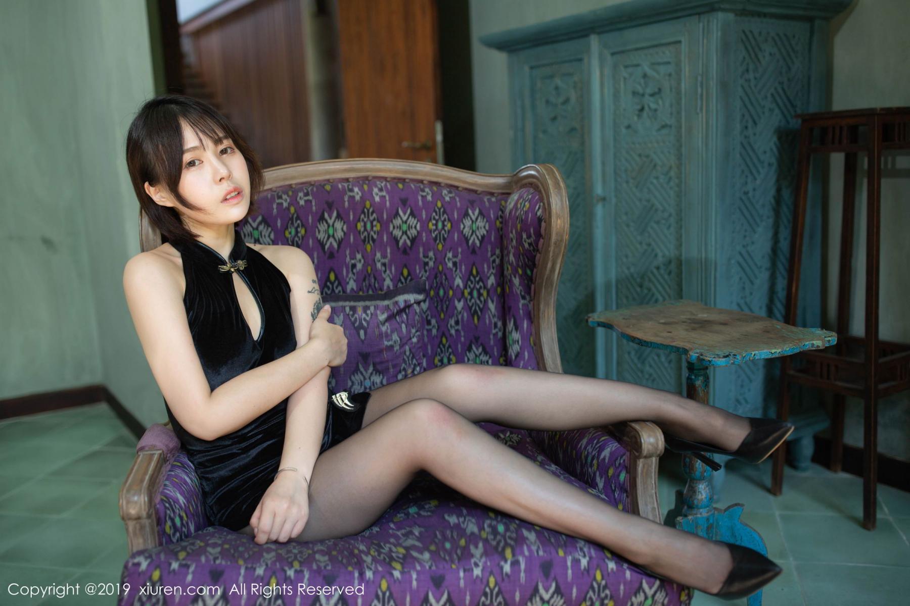 [XiuRen] Vol.1773 Evelyn Ai Li 19P, Black Silk, Cheongsam, Evelyn Ai Li, Xiuren