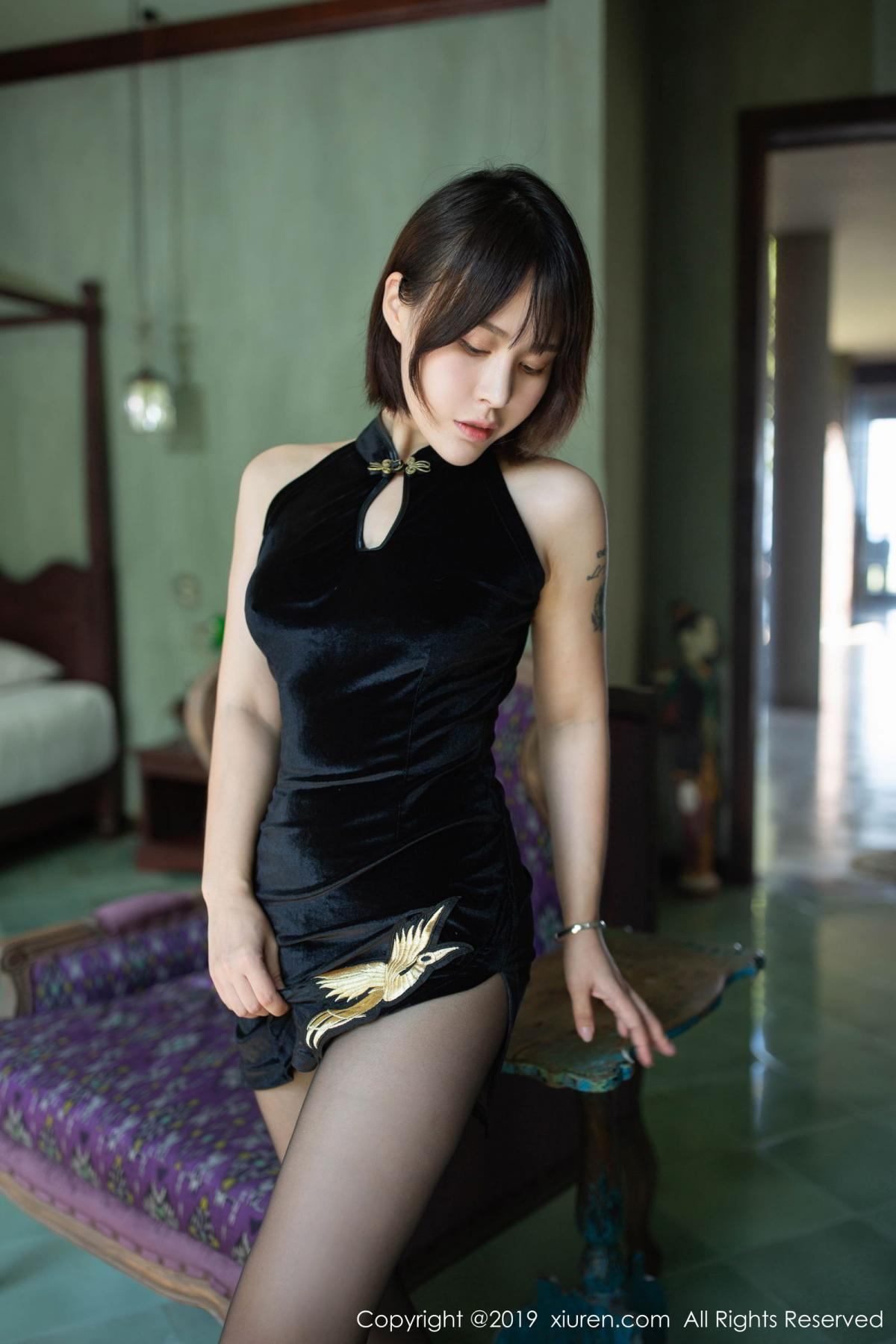 [XiuRen] Vol.1773 Evelyn Ai Li 25P, Black Silk, Cheongsam, Evelyn Ai Li, Xiuren