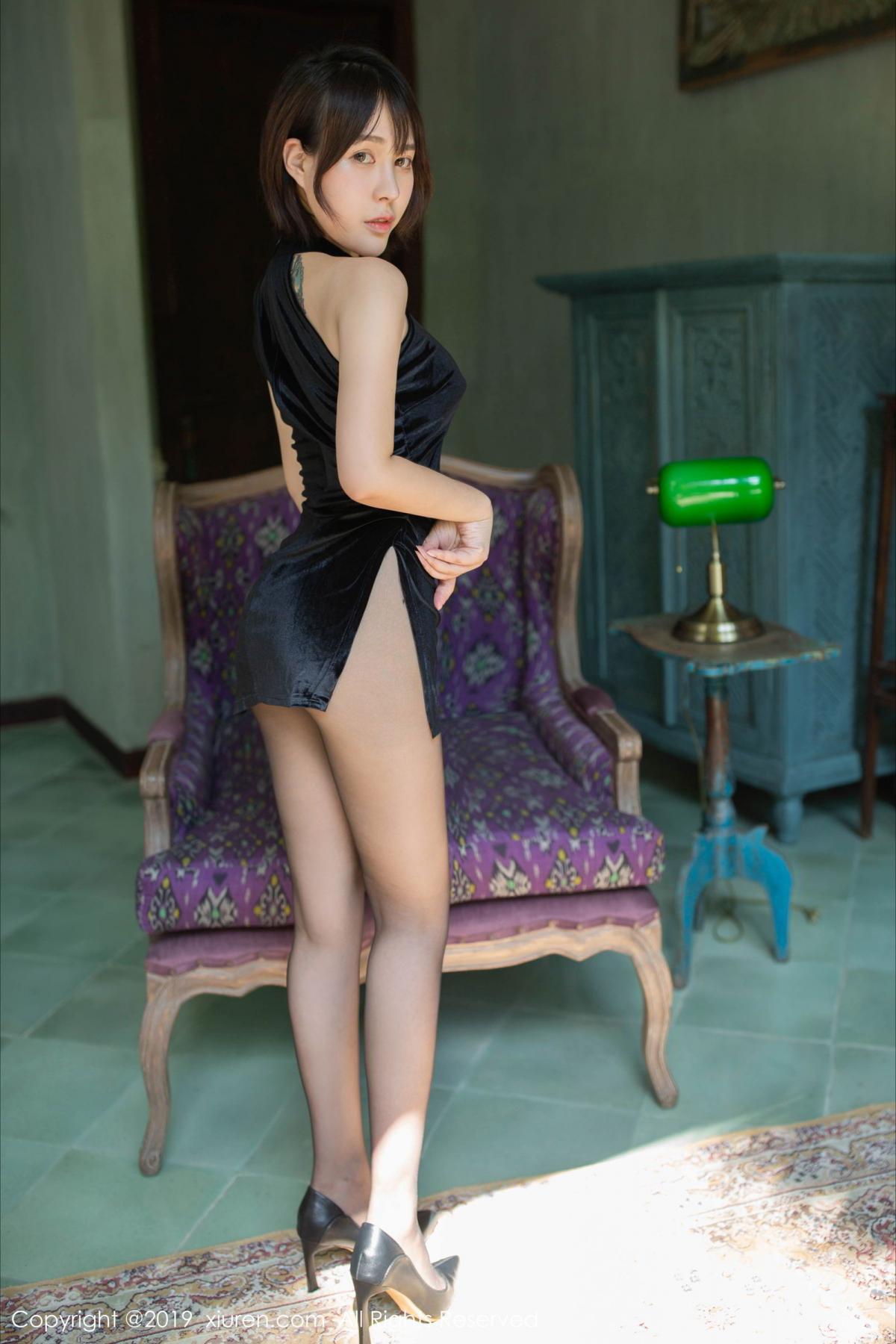 [XiuRen] Vol.1773 Evelyn Ai Li 2P, Black Silk, Cheongsam, Evelyn Ai Li, Xiuren