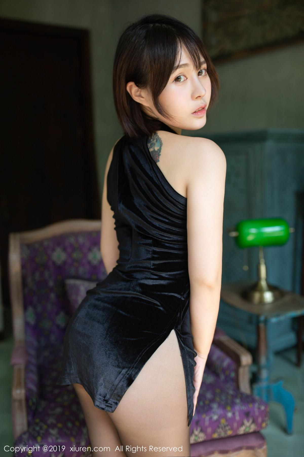 [XiuRen] Vol.1773 Evelyn Ai Li 3P, Black Silk, Cheongsam, Evelyn Ai Li, Xiuren