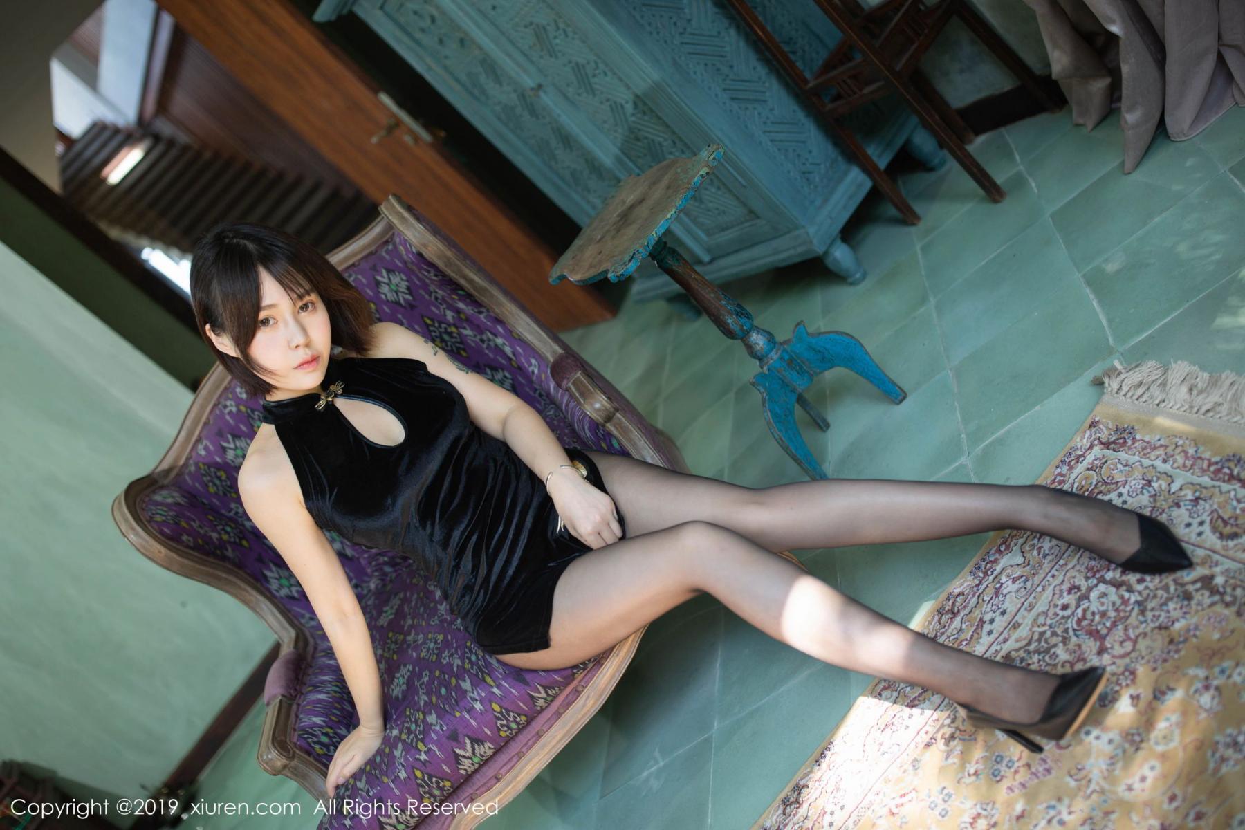 [XiuRen] Vol.1773 Evelyn Ai Li 4P, Black Silk, Cheongsam, Evelyn Ai Li, Xiuren