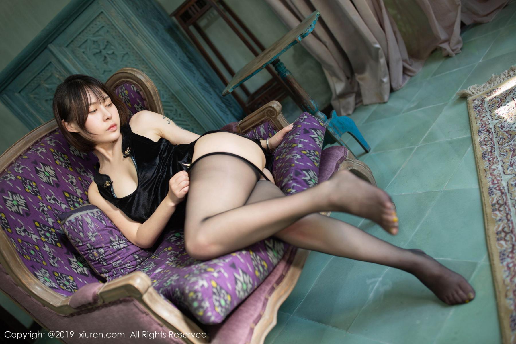 [XiuRen] Vol.1773 Evelyn Ai Li 50P, Black Silk, Cheongsam, Evelyn Ai Li, Xiuren