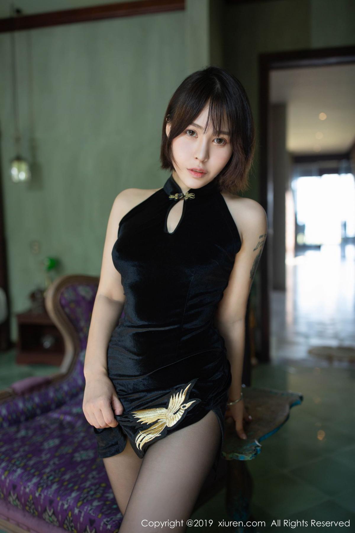 [XiuRen] Vol.1773 Evelyn Ai Li 5P, Black Silk, Cheongsam, Evelyn Ai Li, Xiuren